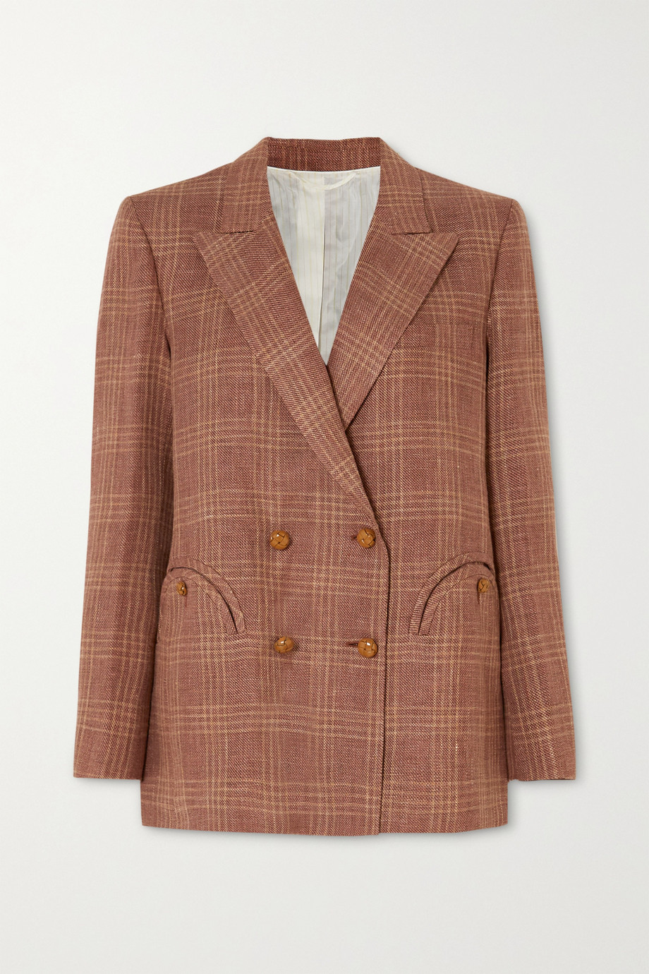 Blazé Milano Bella Donna Everynight double-breasted checked linen and wool-blend blazer