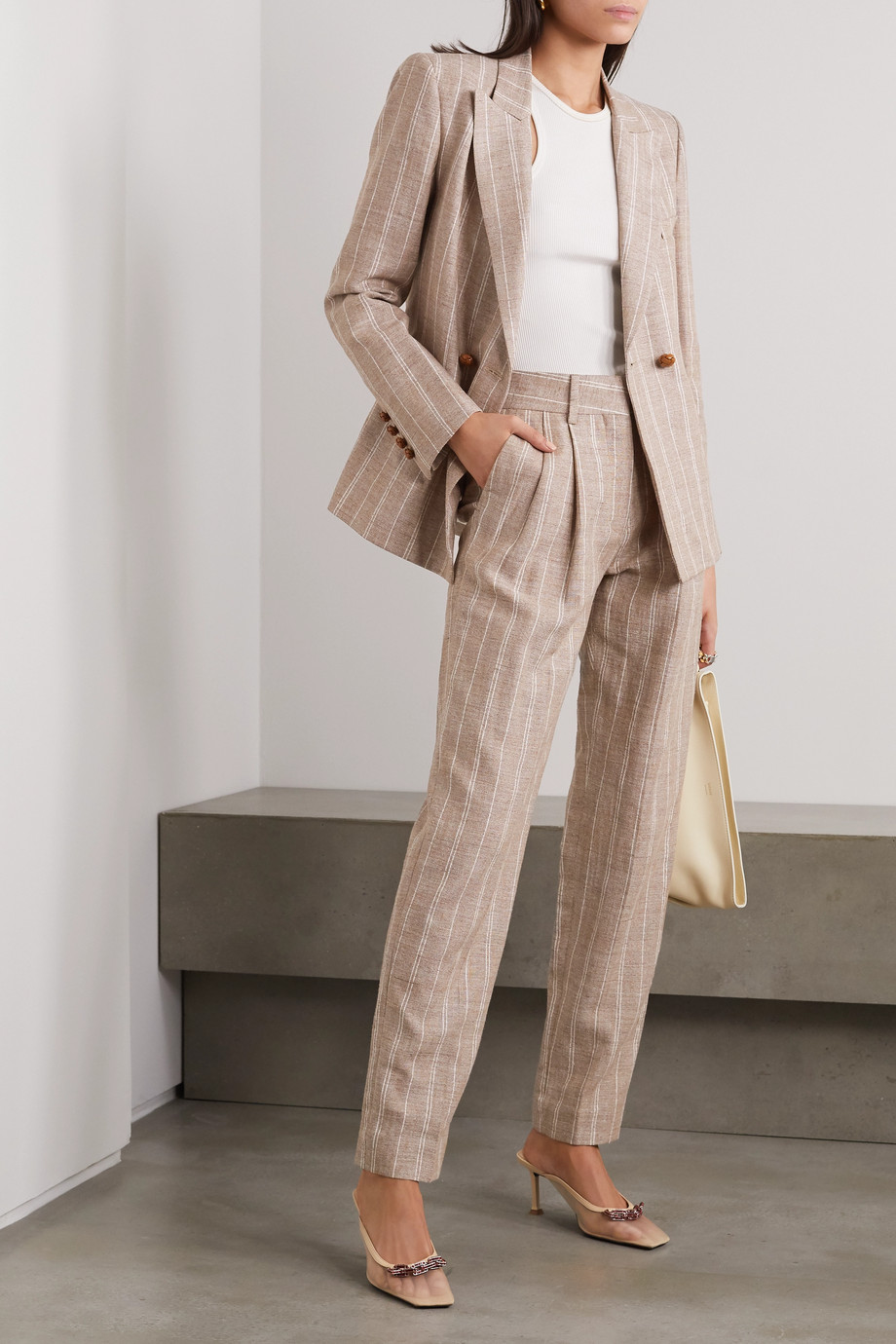 Blazé Milano Wind Hunter Banker pinstriped grain de poudre straight-leg pants