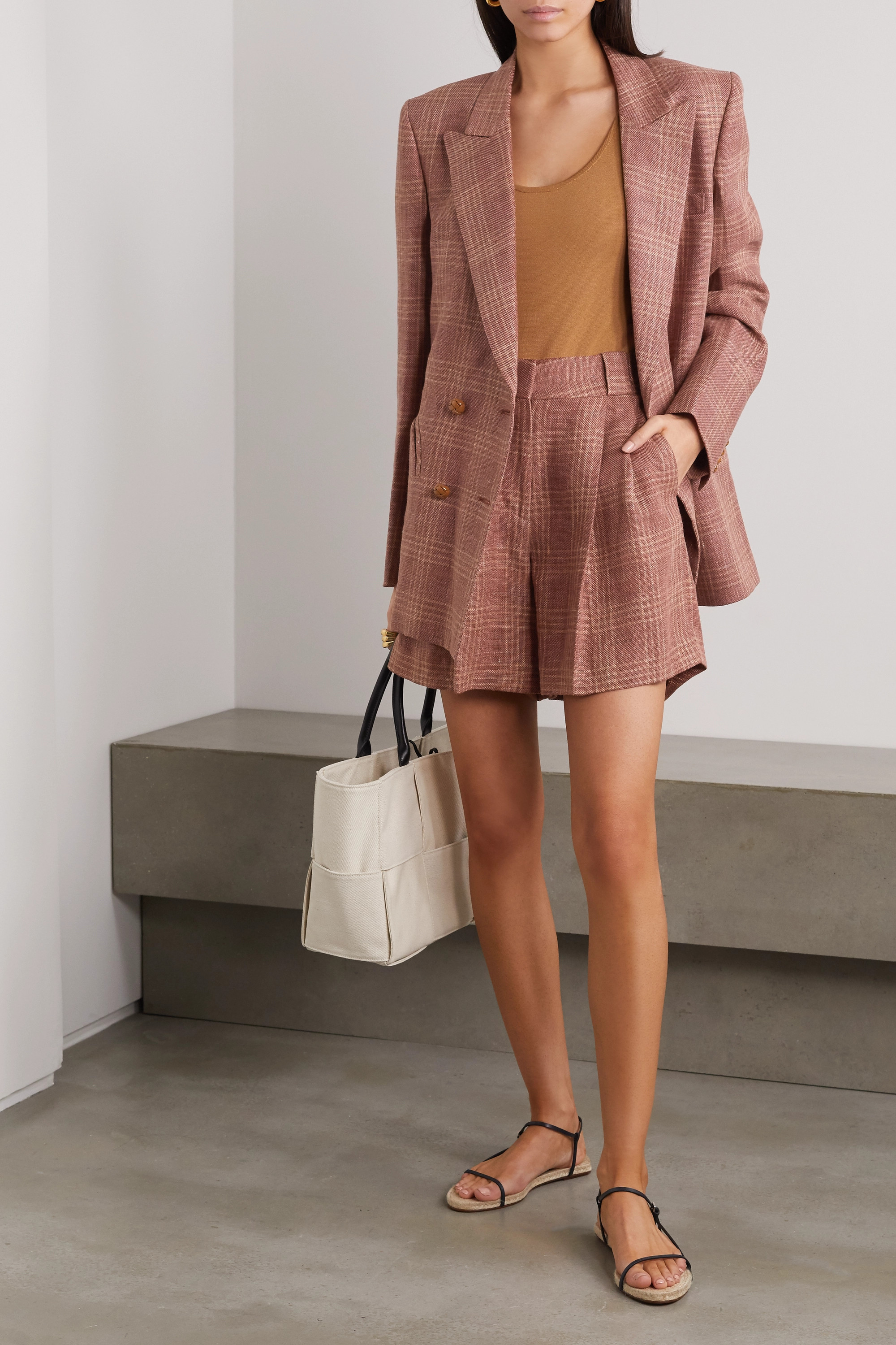 Blazé Milano Bella Donna Fell pleated checked linen and wool-blend shorts
