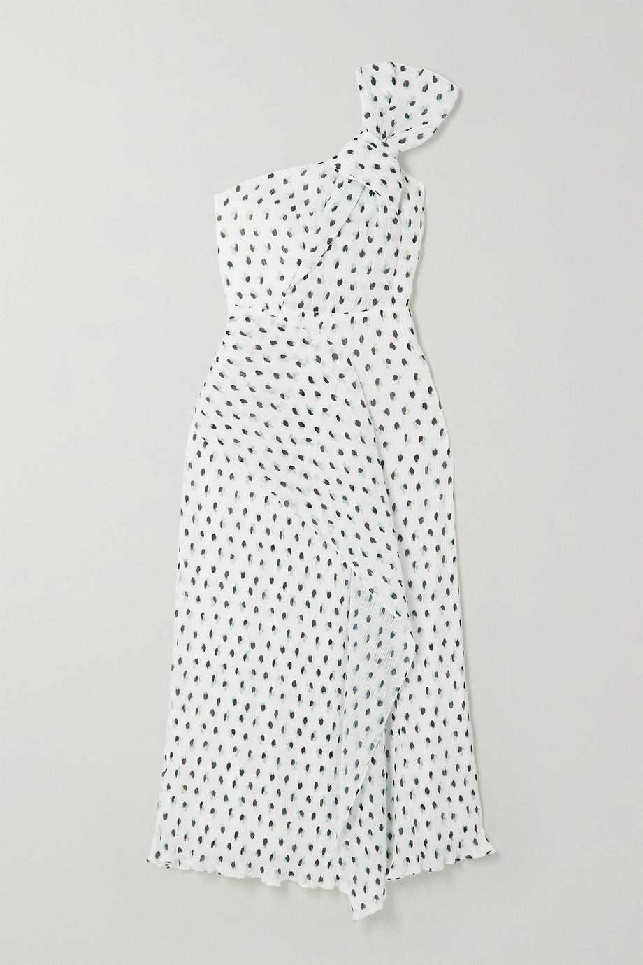 Roland Mouret Giza knotted polka-dot plissé-chiffon midi dress