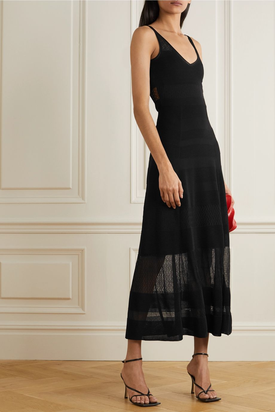 Roland Mouret Cetina patchwork stretch-knit maxi dress