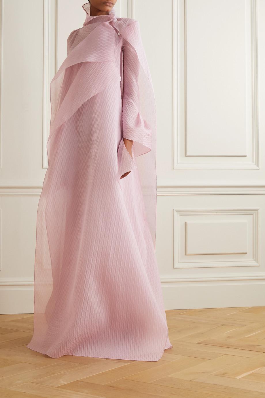 Roland Mouret Panska draped cape-effect silk-blend organza-jacquard gown