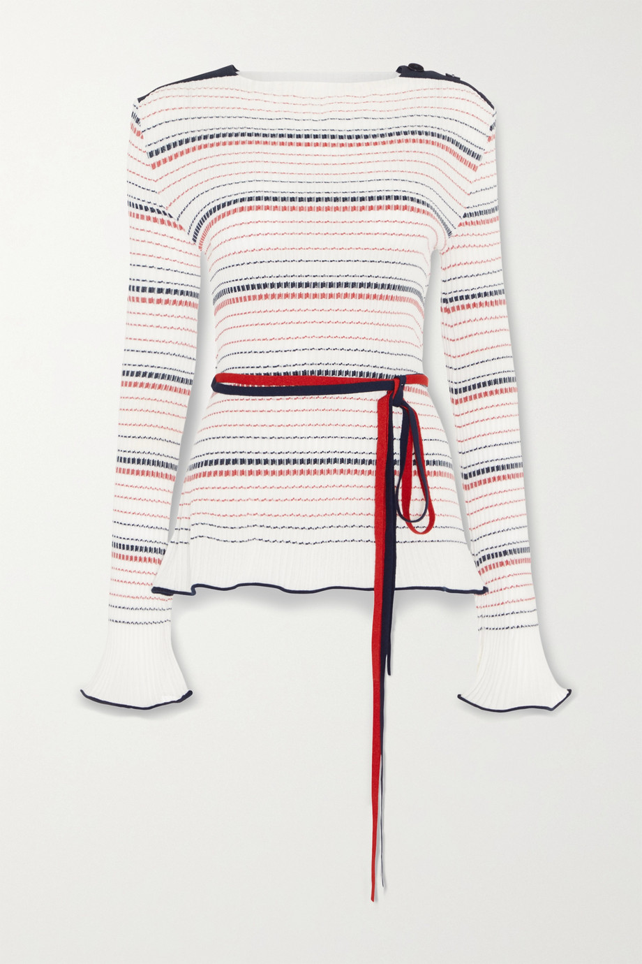 Roland Mouret Edlin belted striped ribbed-knit sweater