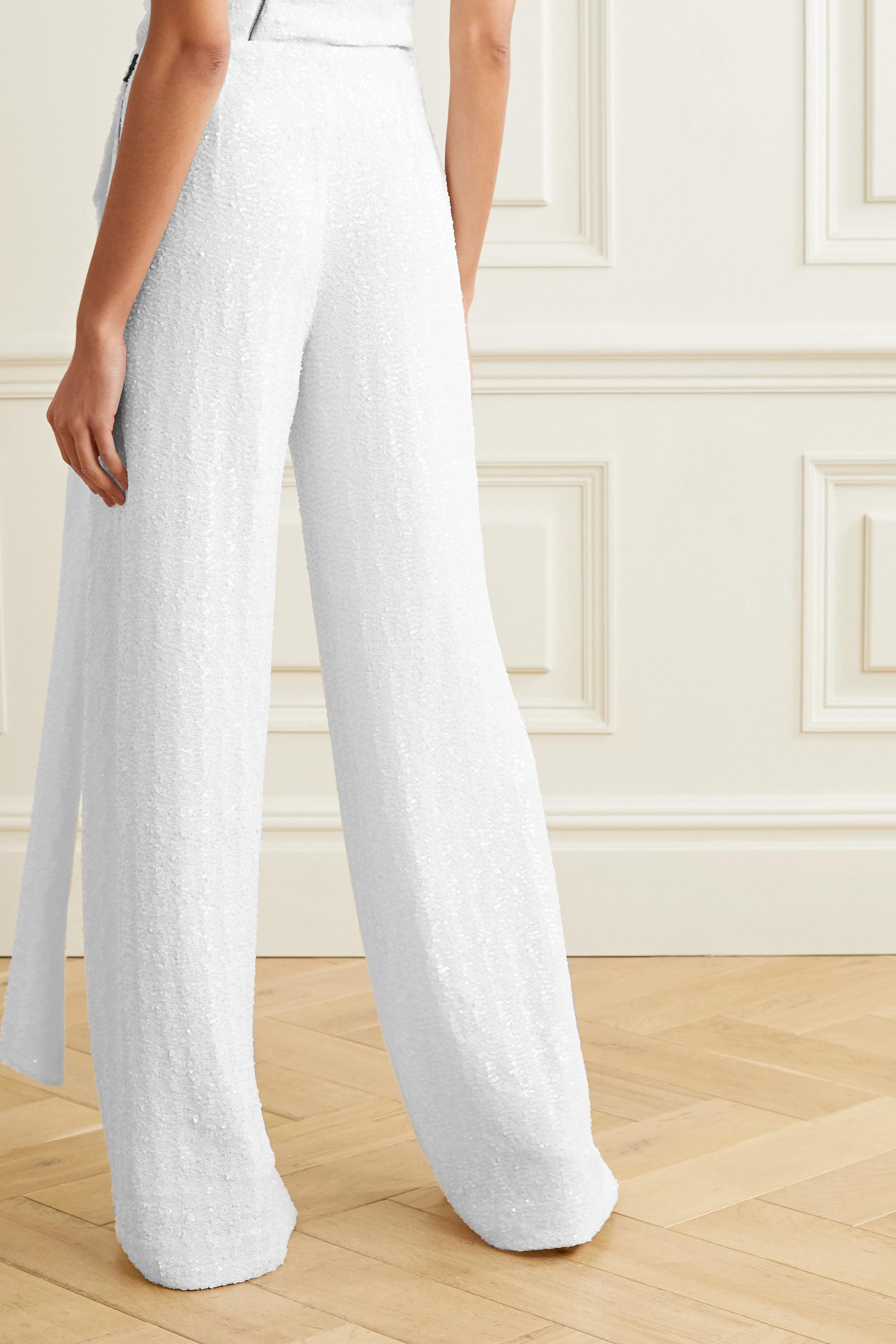 Roland Mouret Jervis tie-detailed sequined crepe wide-leg pants