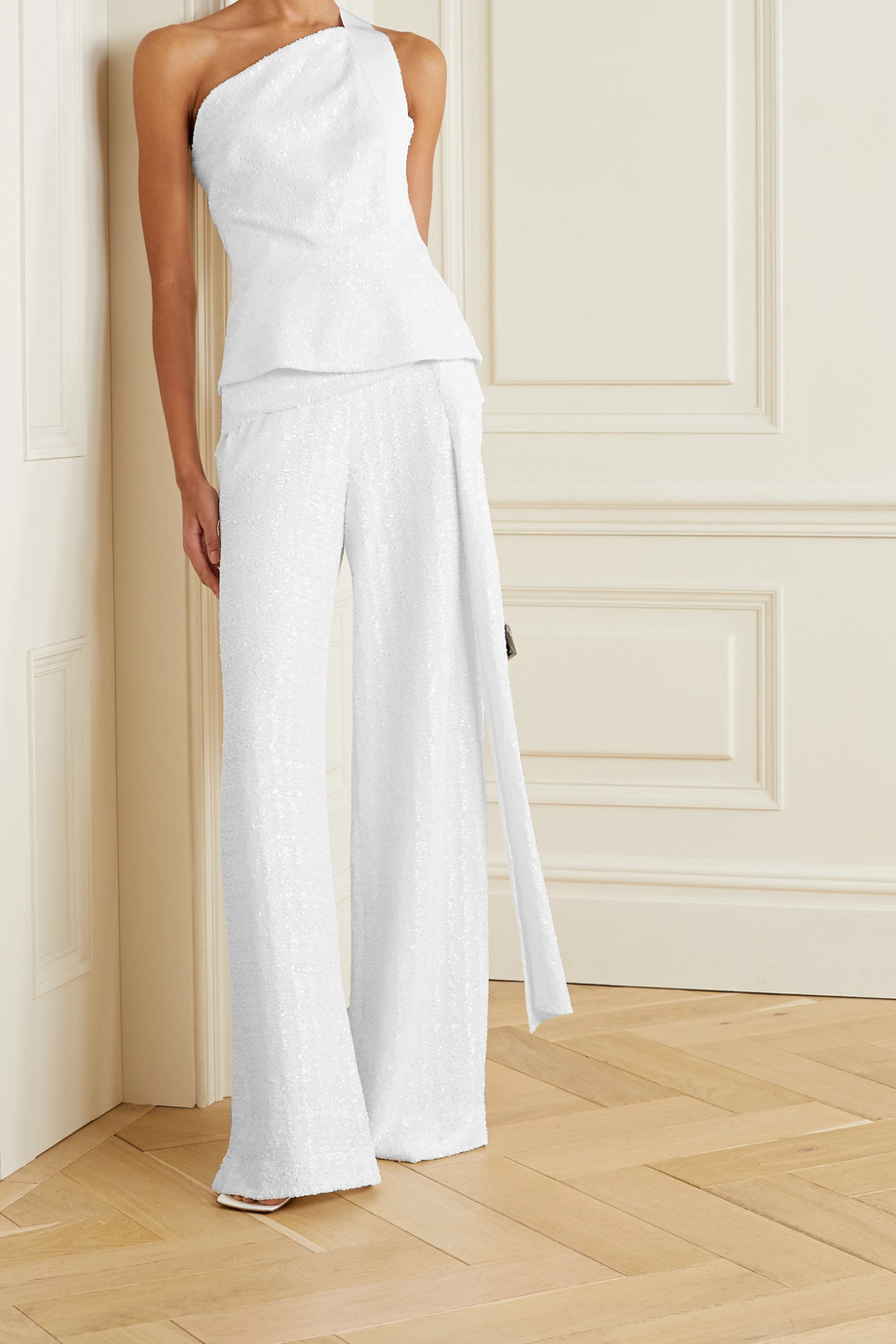 Roland Mouret Jervis tie-detailed sequined crepe wide-leg pants