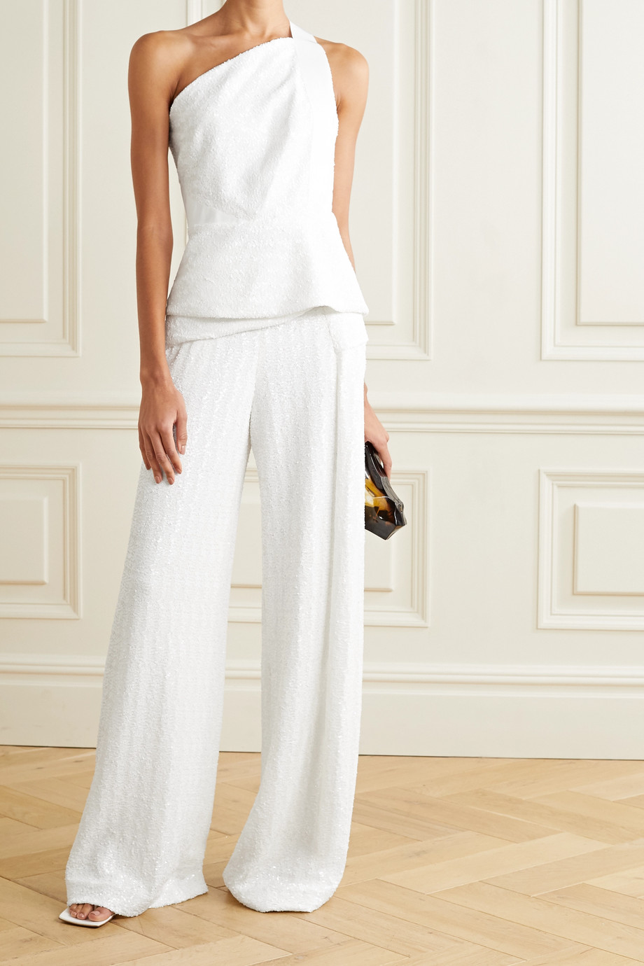 Roland Mouret Coreana one-shoulder sequined crepe top