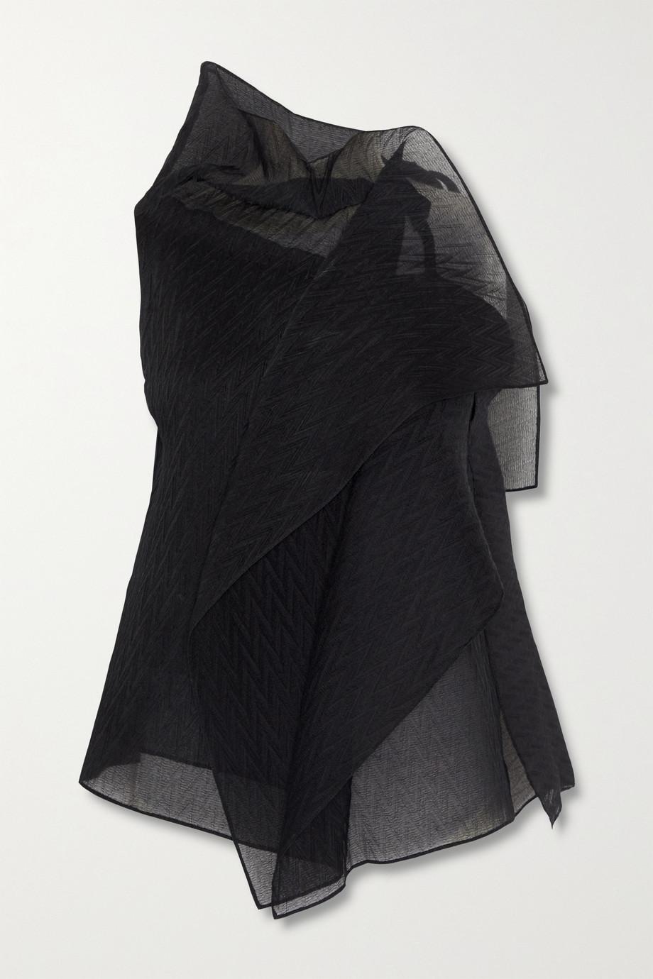 Roland Mouret Pasha draped silk-blend organza-jacquard top