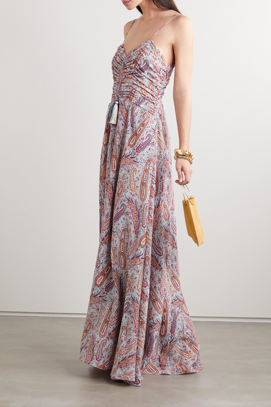 Etro Tasseled paisley-print silk crepe de chine maxi dress