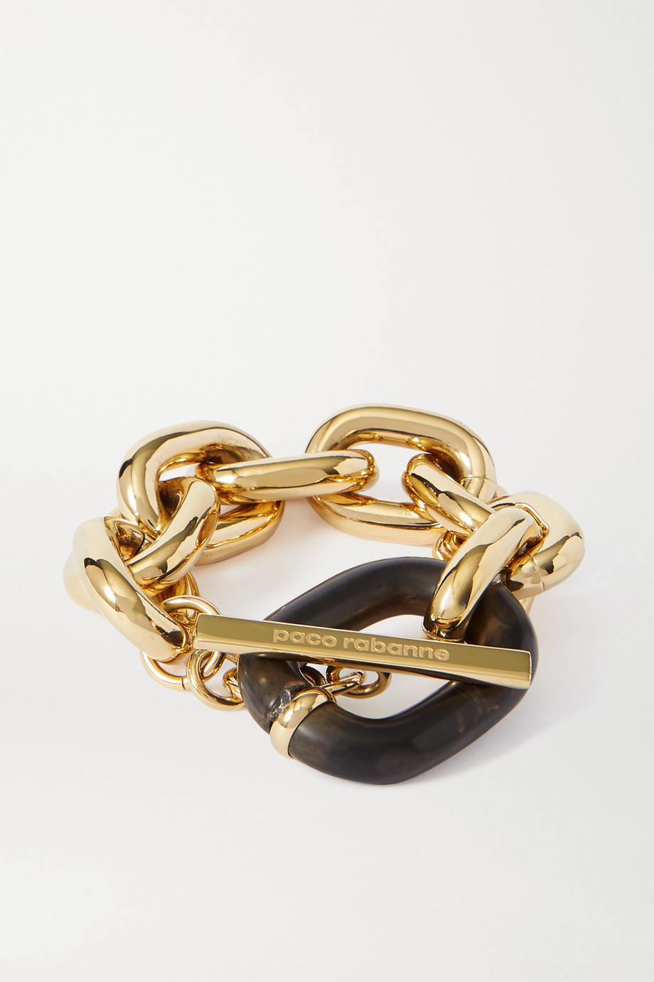 Paco Rabanne Goldfarbenes Armband mit Detail aus Acryl