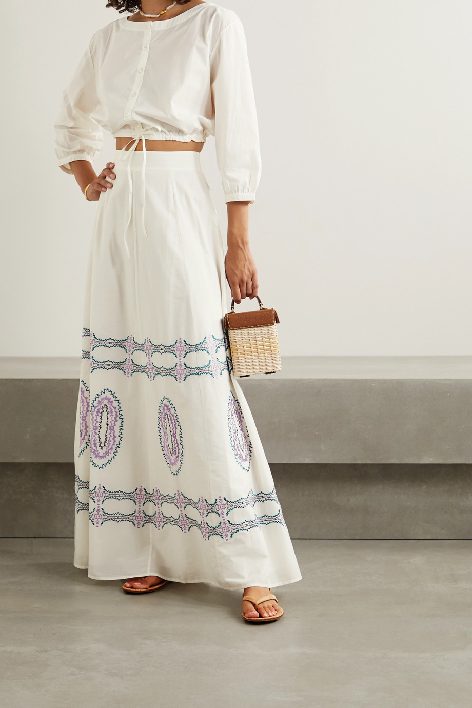 Le Sirenuse Positano Camille embroidered cotton-voile maxi skirt