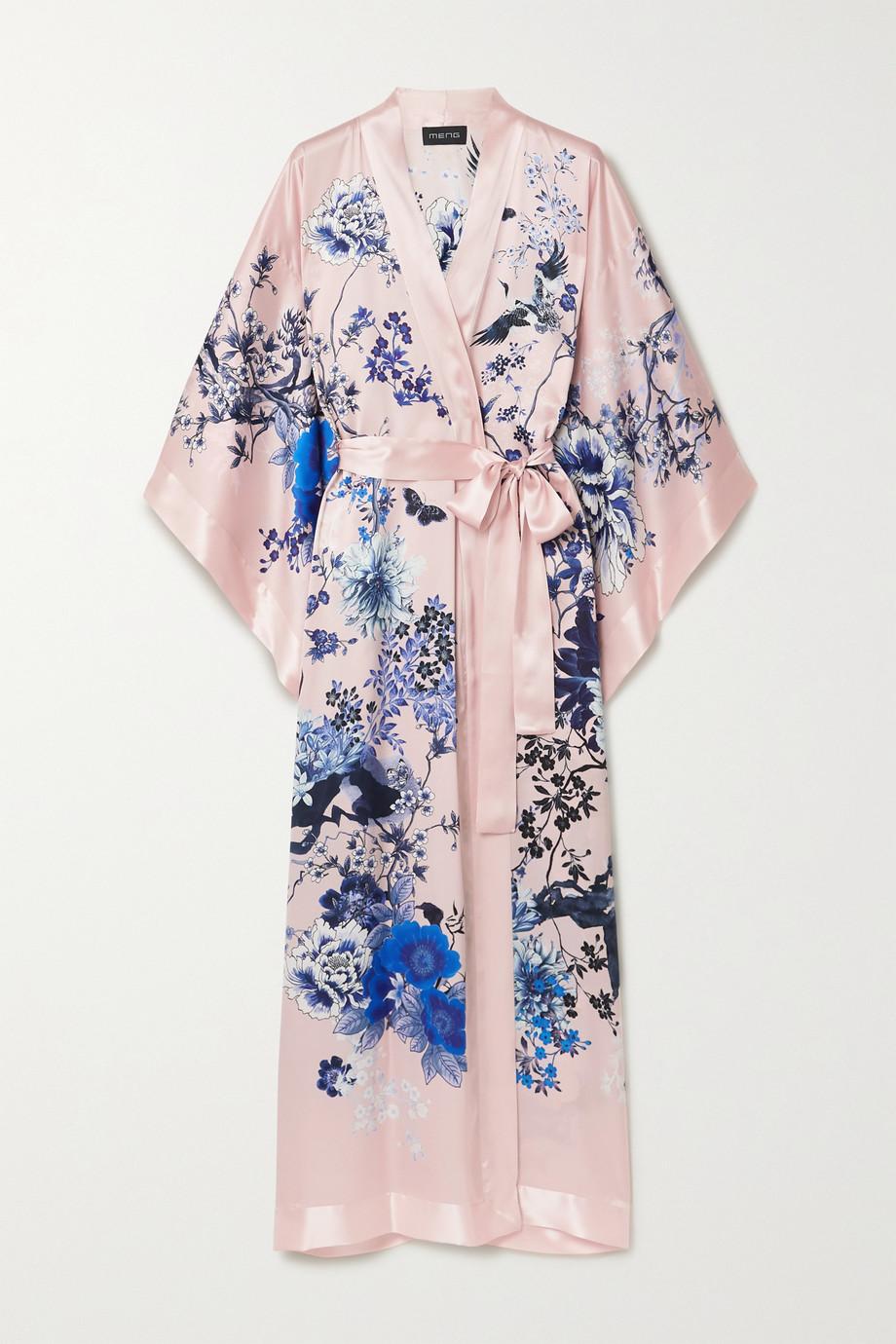 MENG 花卉印花丝缎和服式外套
