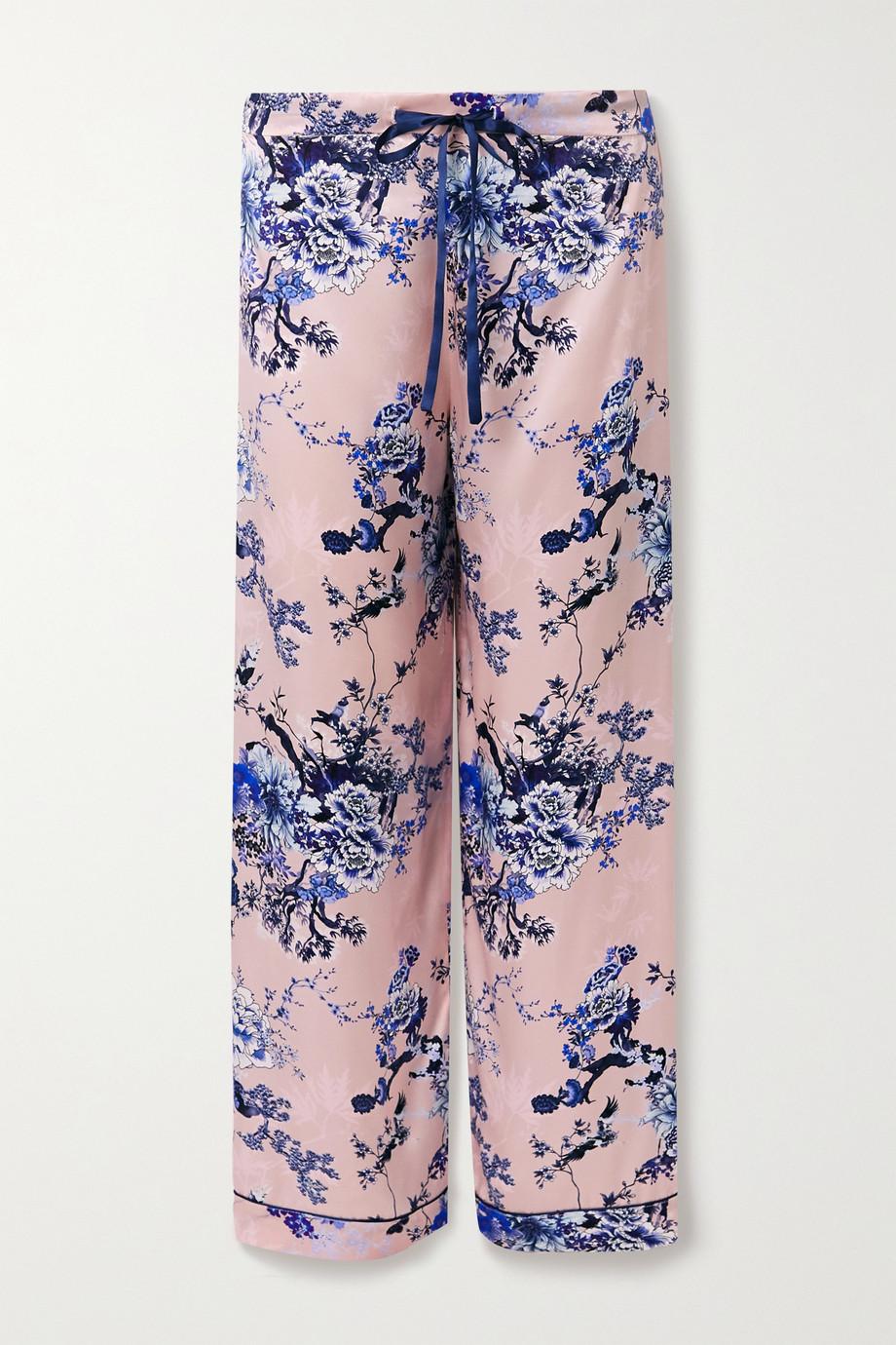 MENG Floral-print silk-satin pajama pants