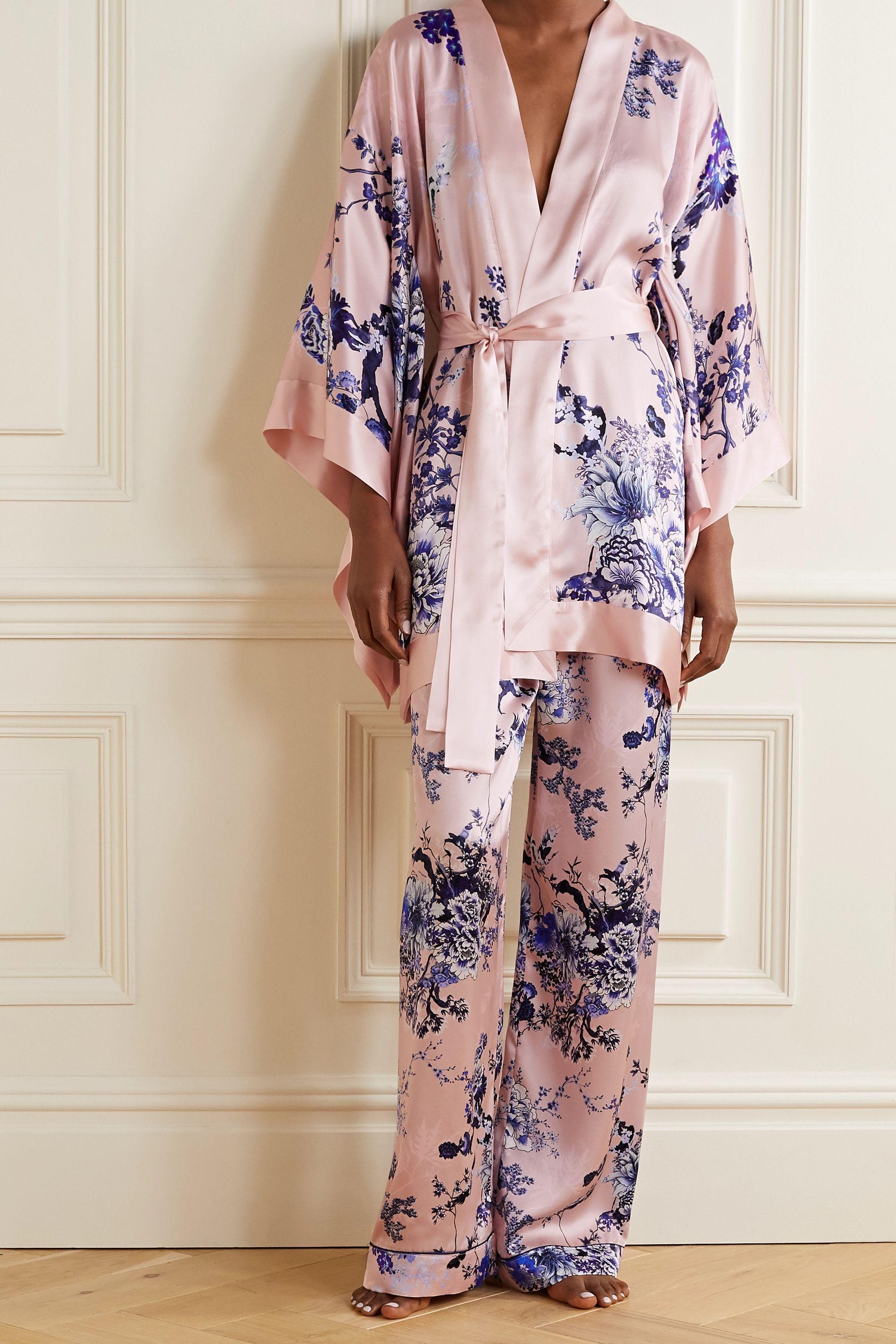 MENG Kimono aus Seidensatin mit Blumenprint