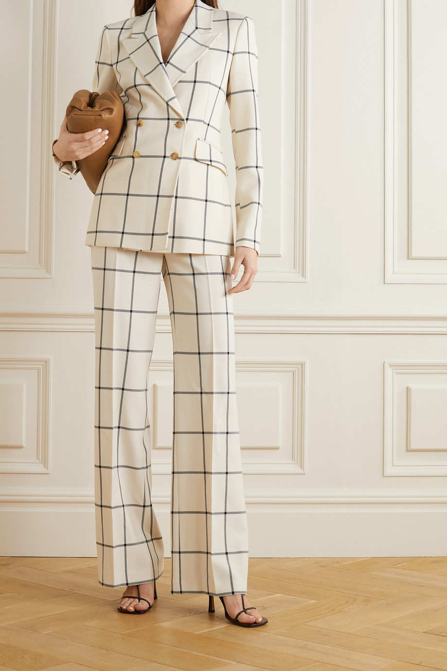 Gabriela Hearst Leda checked wool-twill flared pants