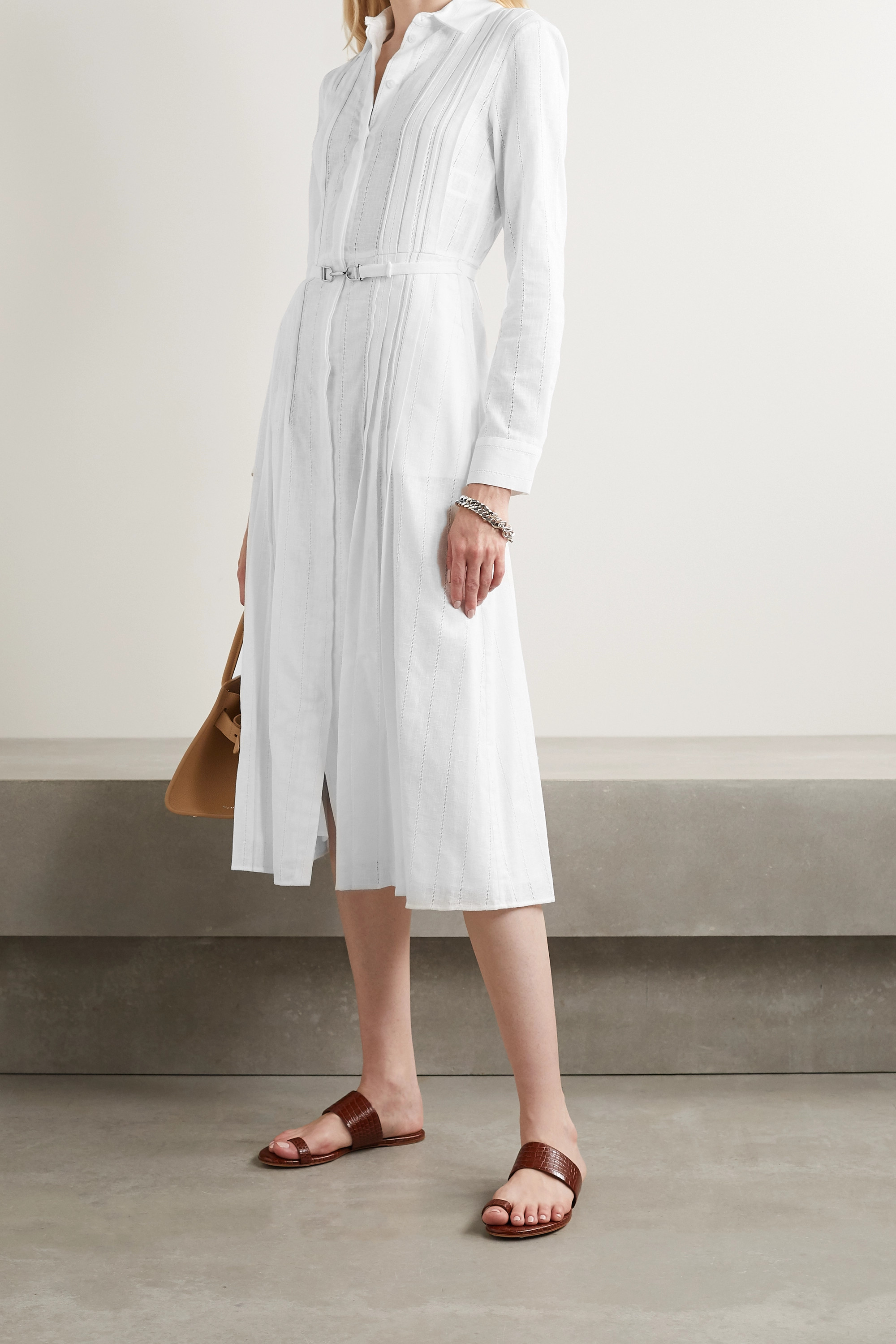 White Vera Belted Pintucked Cotton-voile Midi Shirt Dress | Gabriela Hearst