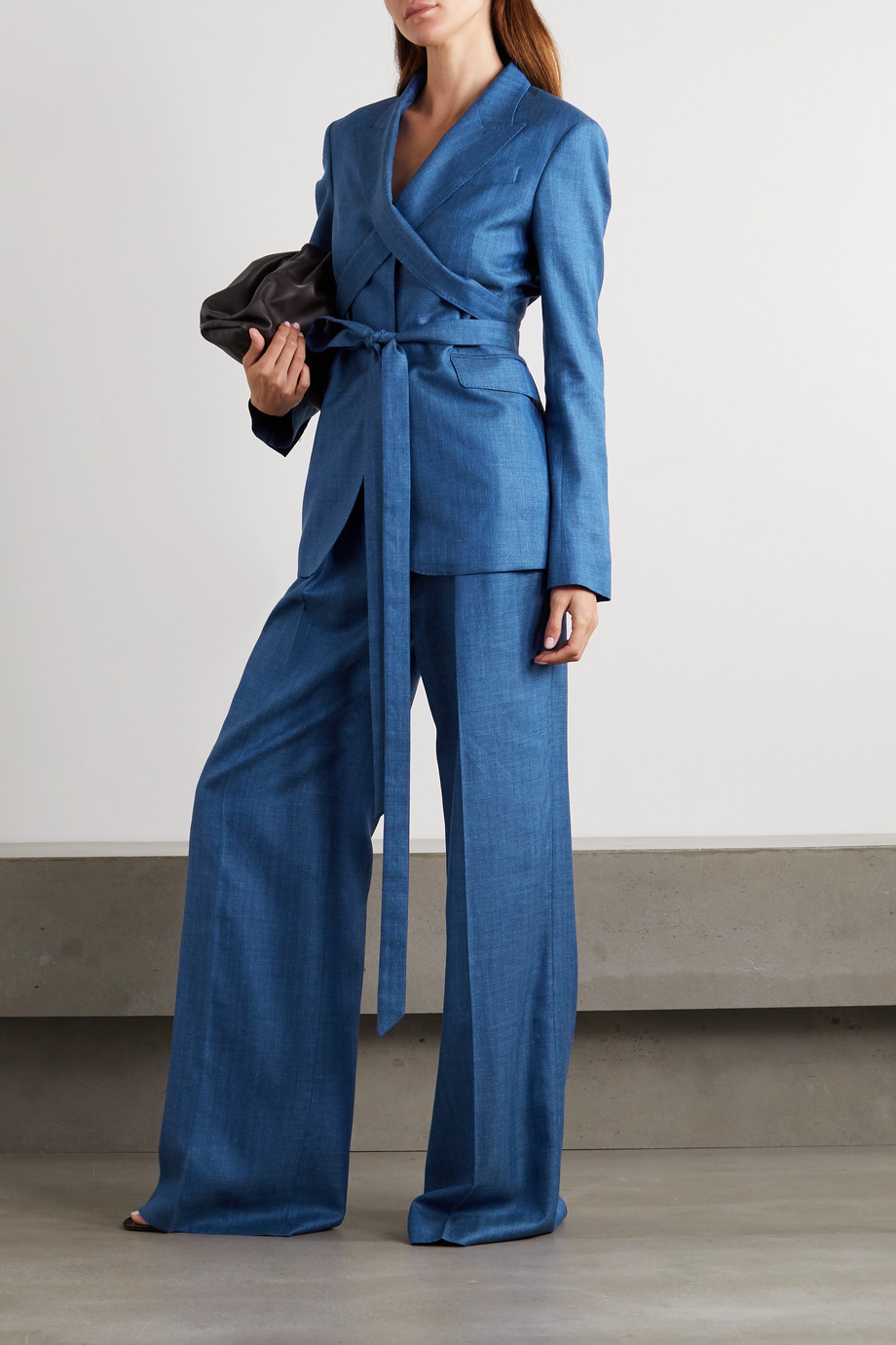 Gabriela Hearst Vargas belted pleated wool, silk and linen-blend wide-leg pants