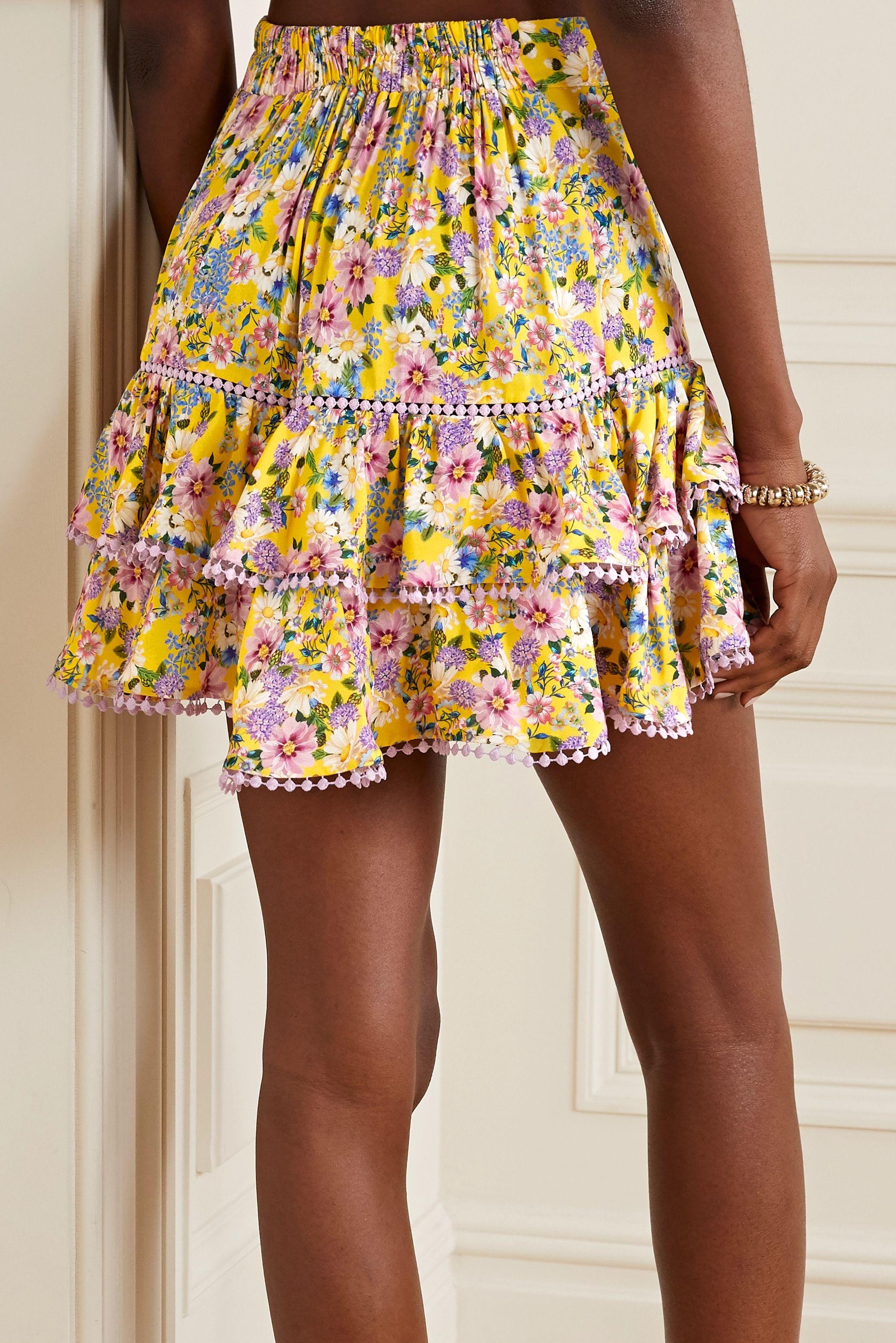 Charo Ruiz Fera crochet-trimmed ruffled floral-print voile mini skirt