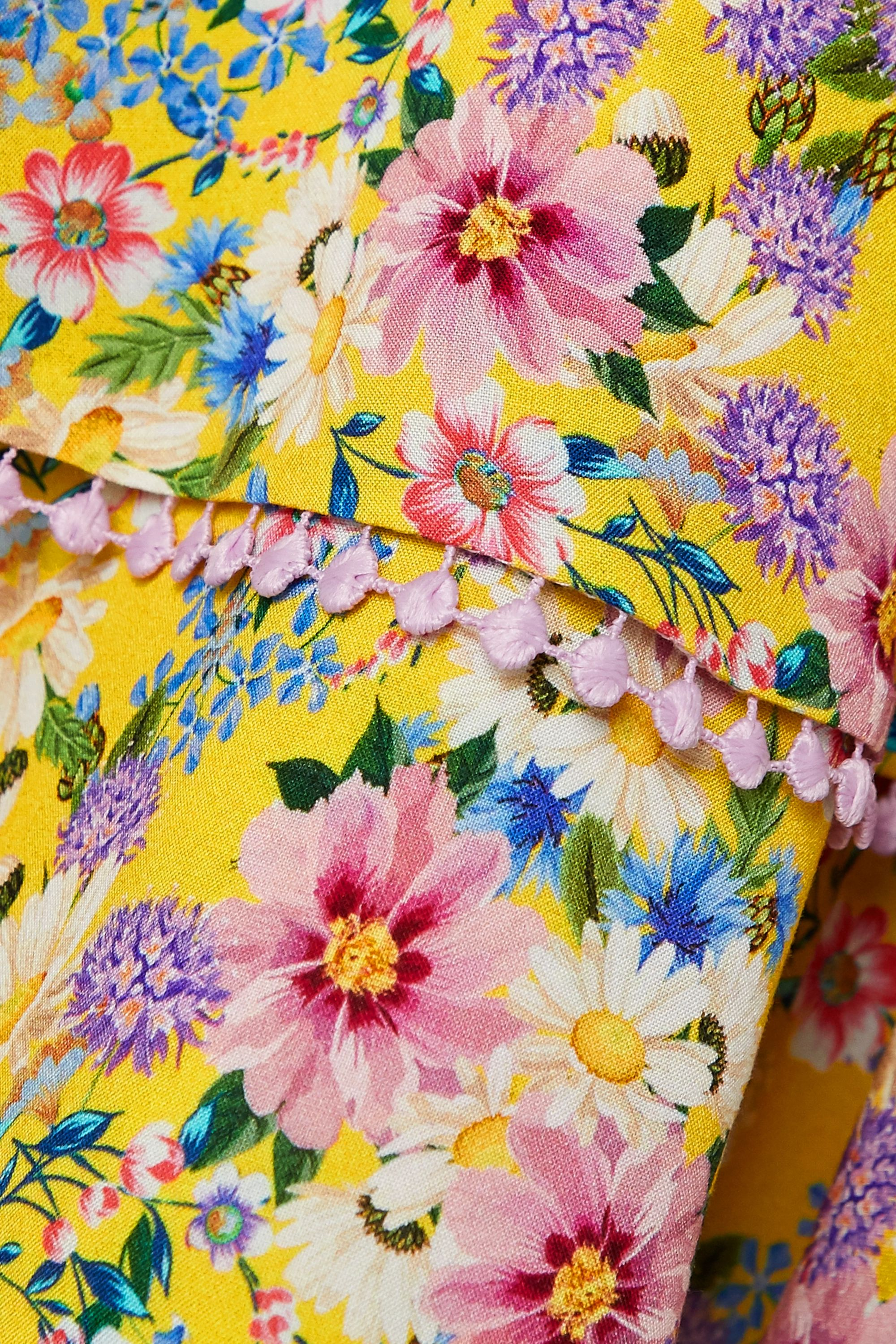 Yellow Milly Crochet-trimmed Ruffled Floral-print Voile Mini Dress | Charo Ruiz