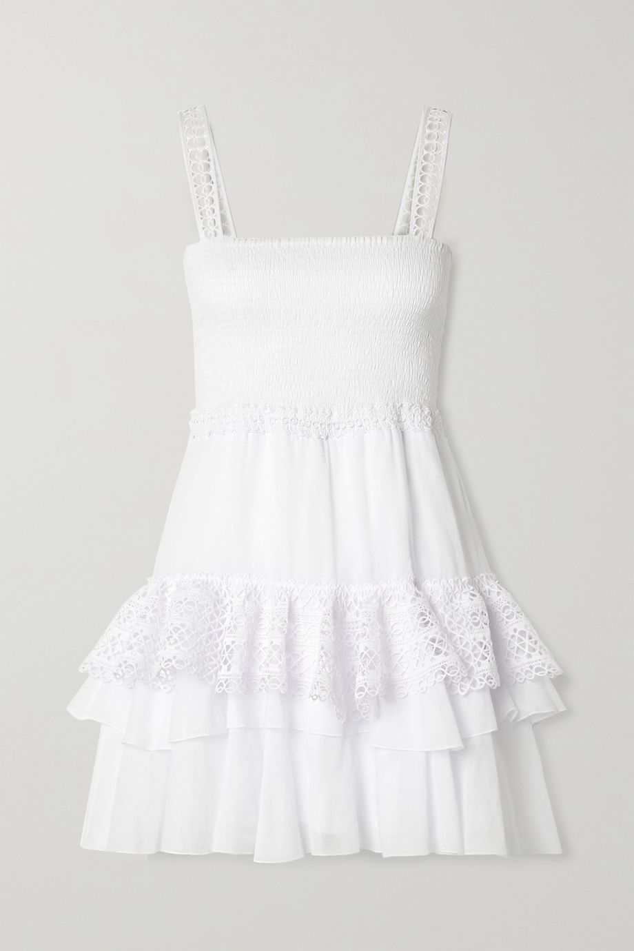 Charo Ruiz Celina crochet-trimmed ruffled cotton-blend voile mini dress