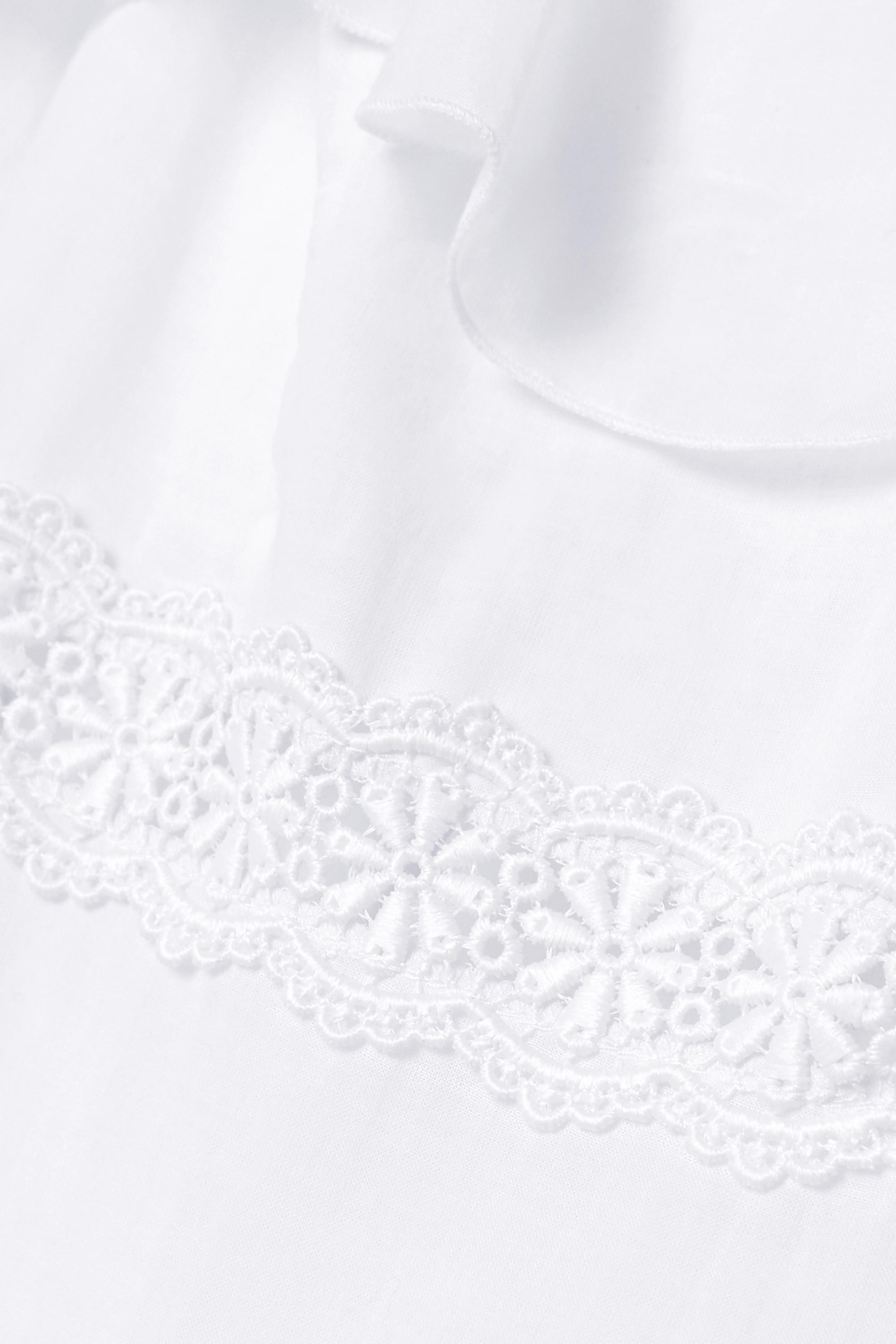 Blanc Robe Longue En Voile De Coton Mélangé À Volants Et Finitions Crochetées Celina   Charo Ruiz