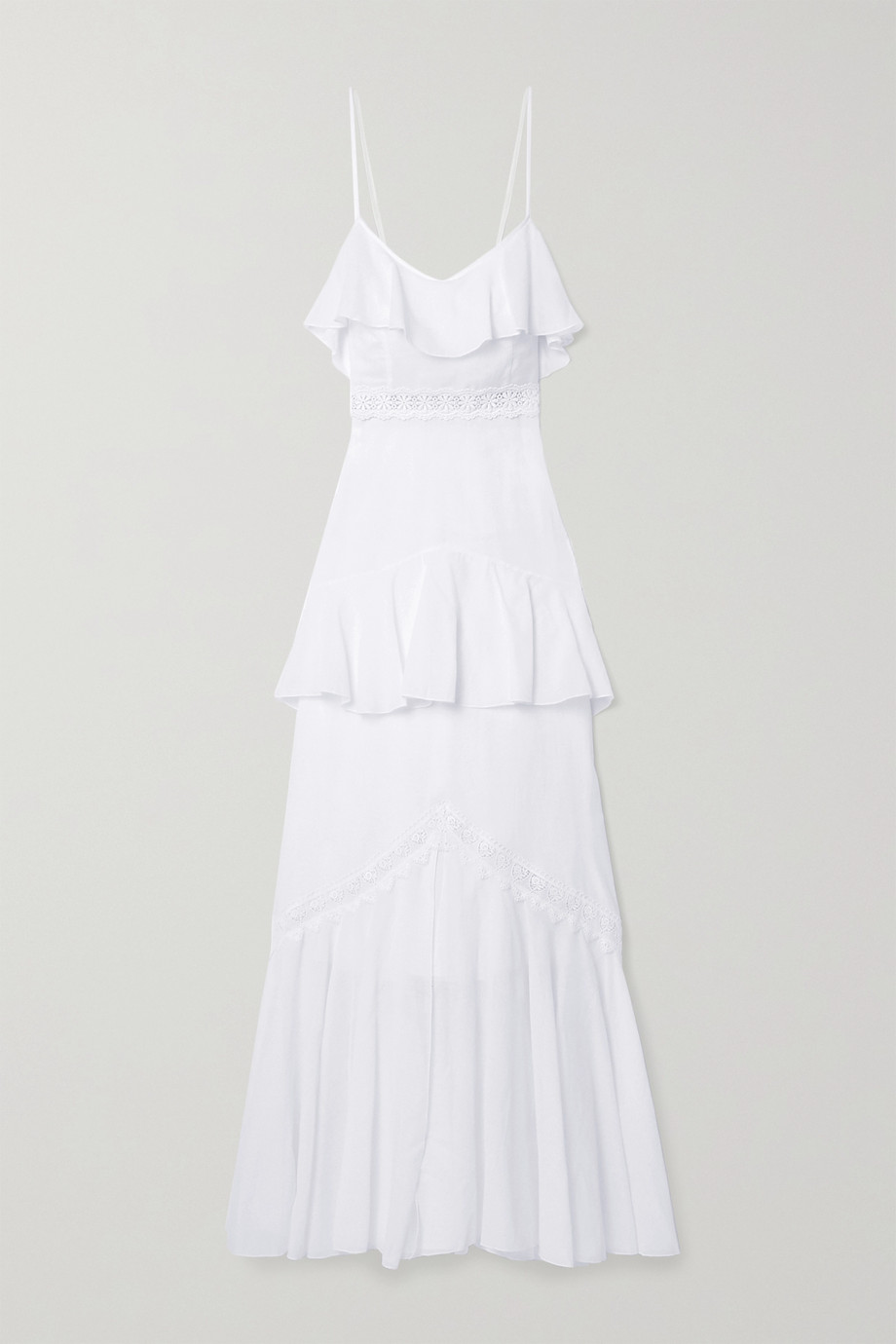 Charo Ruiz Celina crochet-trimmed ruffled cotton-blend voile maxi dress