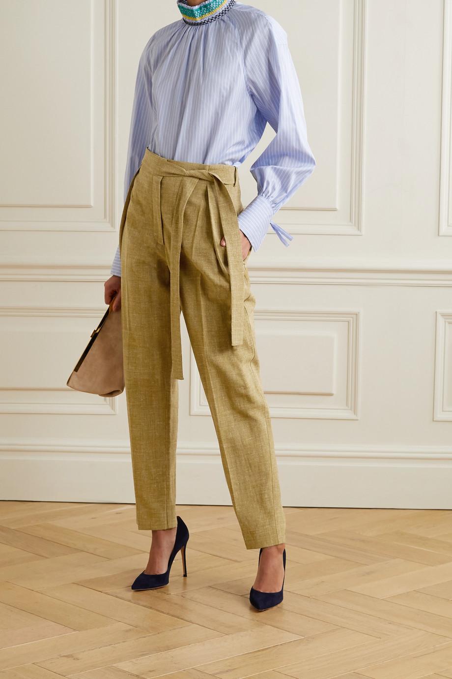 Roksanda Goya belted woven tapered pants
