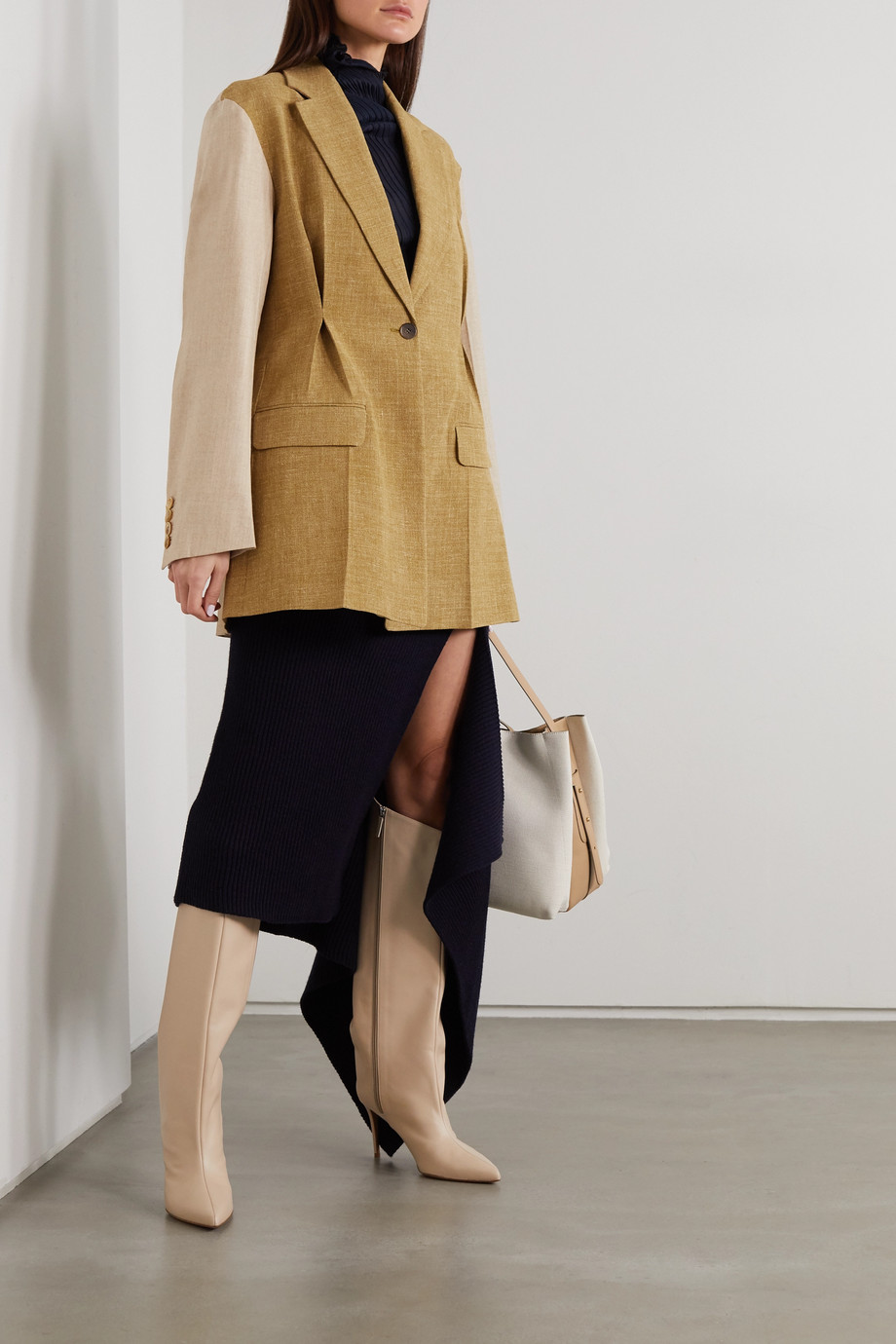 Roksanda Leonie oversized two-tone silk, linen and wool-blend blazer
