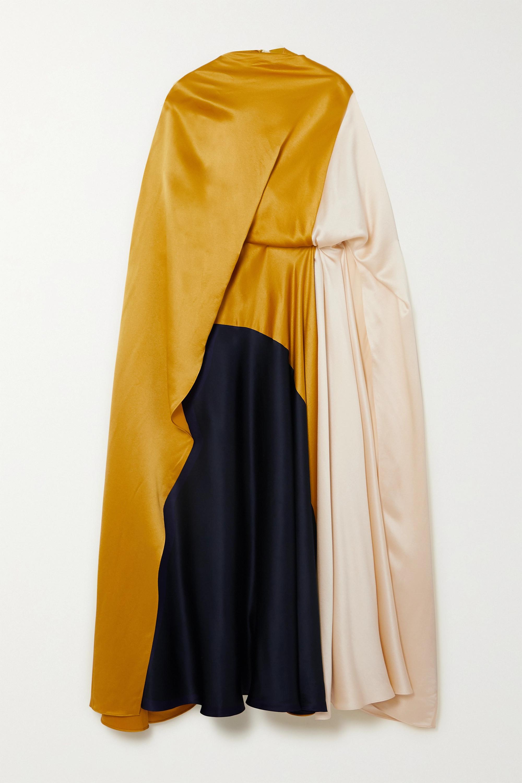 Roksanda Andromeda cape-effect color-block silk-satin midi dress