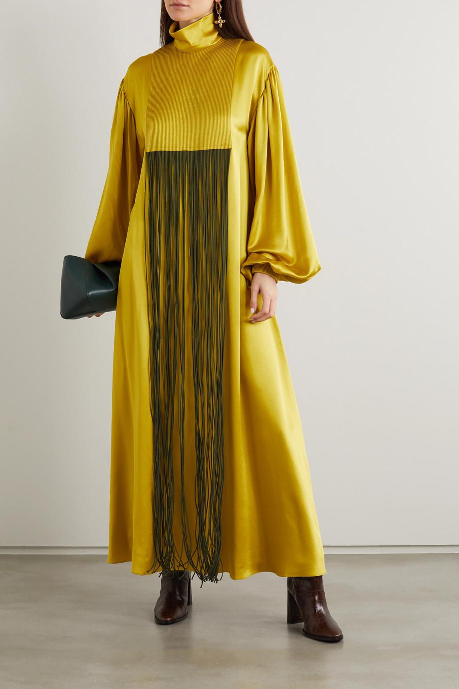 Roksanda Robe du soir à col montant en satin de soie à franges Zina