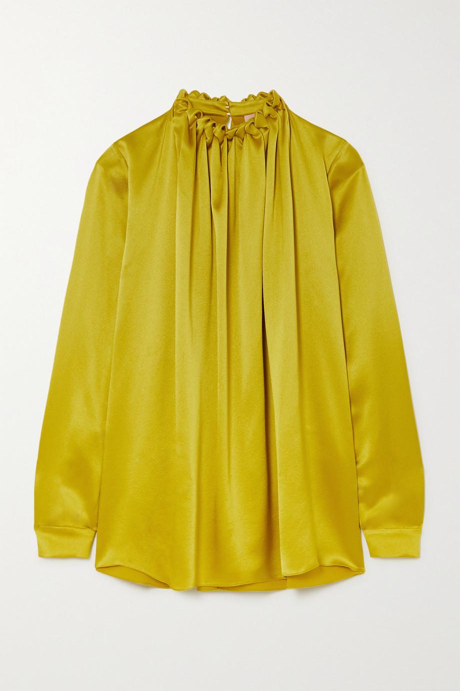 Roksanda Ymara gathered hammered silk-satin blouse