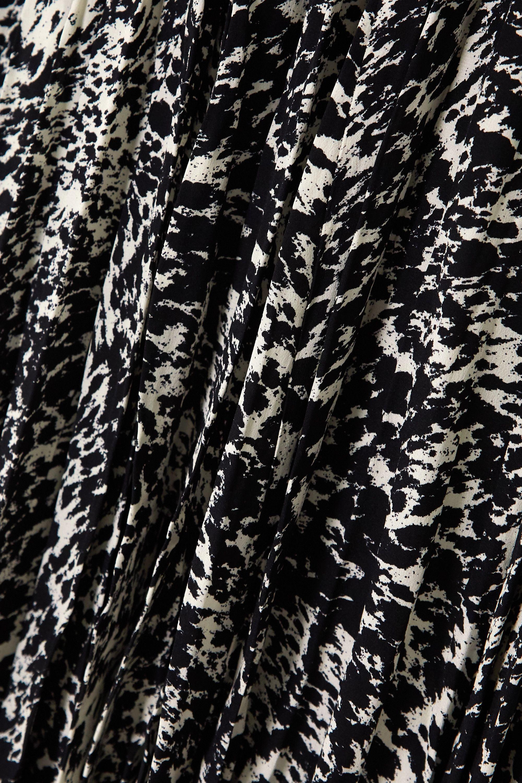 Black Belted Printed Silk Crepe De Chine Midi Shirt Dress | Michael Kors Collection