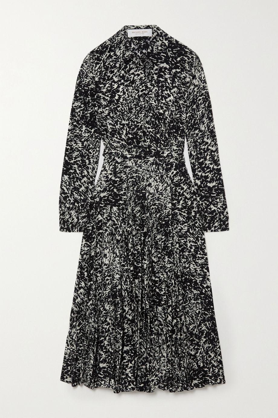 Michael Kors Collection Midi-Hemdblusenkleid aus bedrucktem Crêpe de Chine aus Seide mit Gürtel
