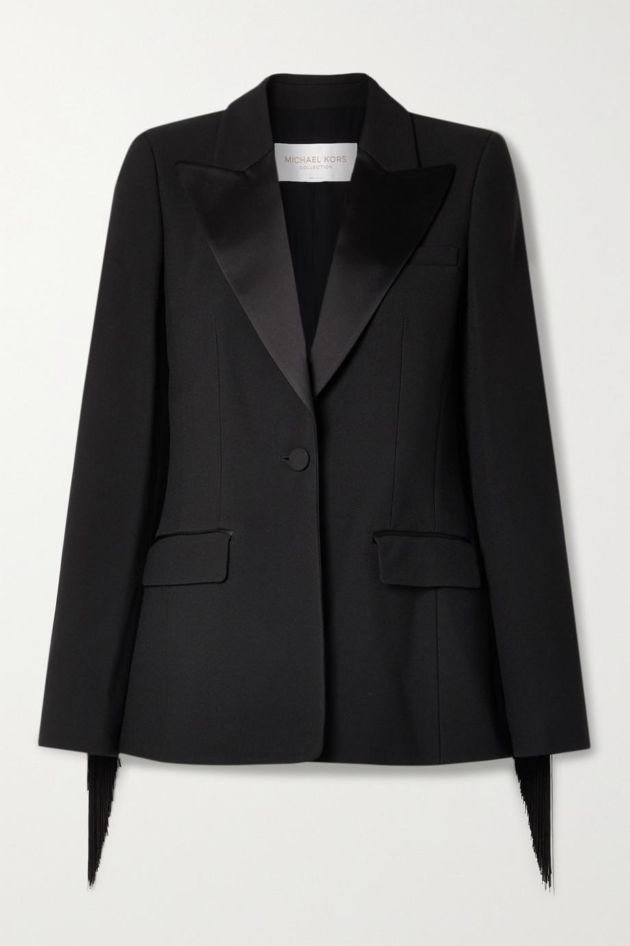 Michael Kors Collection Satin-trimmed fringed crepe blazer