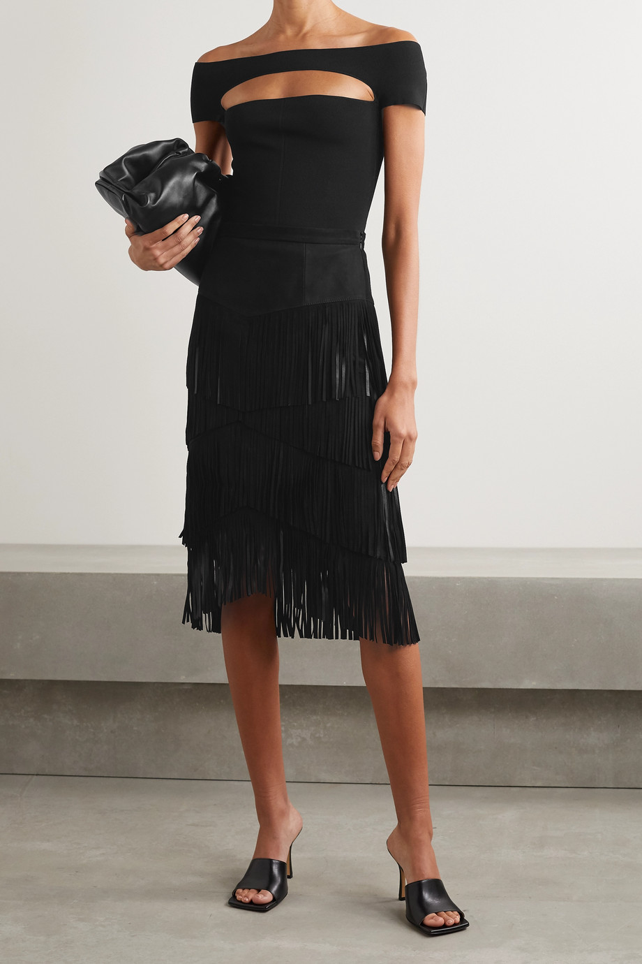 Michael Kors Collection Fringed suede midi skirt