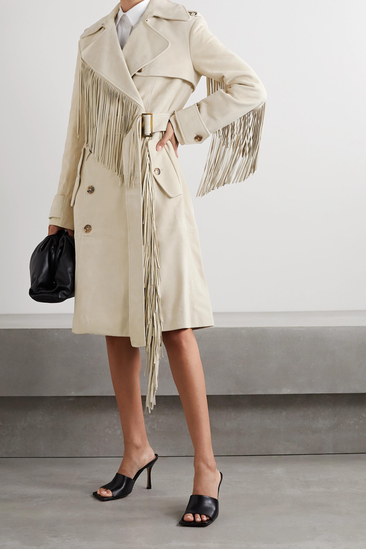 Trench-coat à double boutonnage en daim à franges
