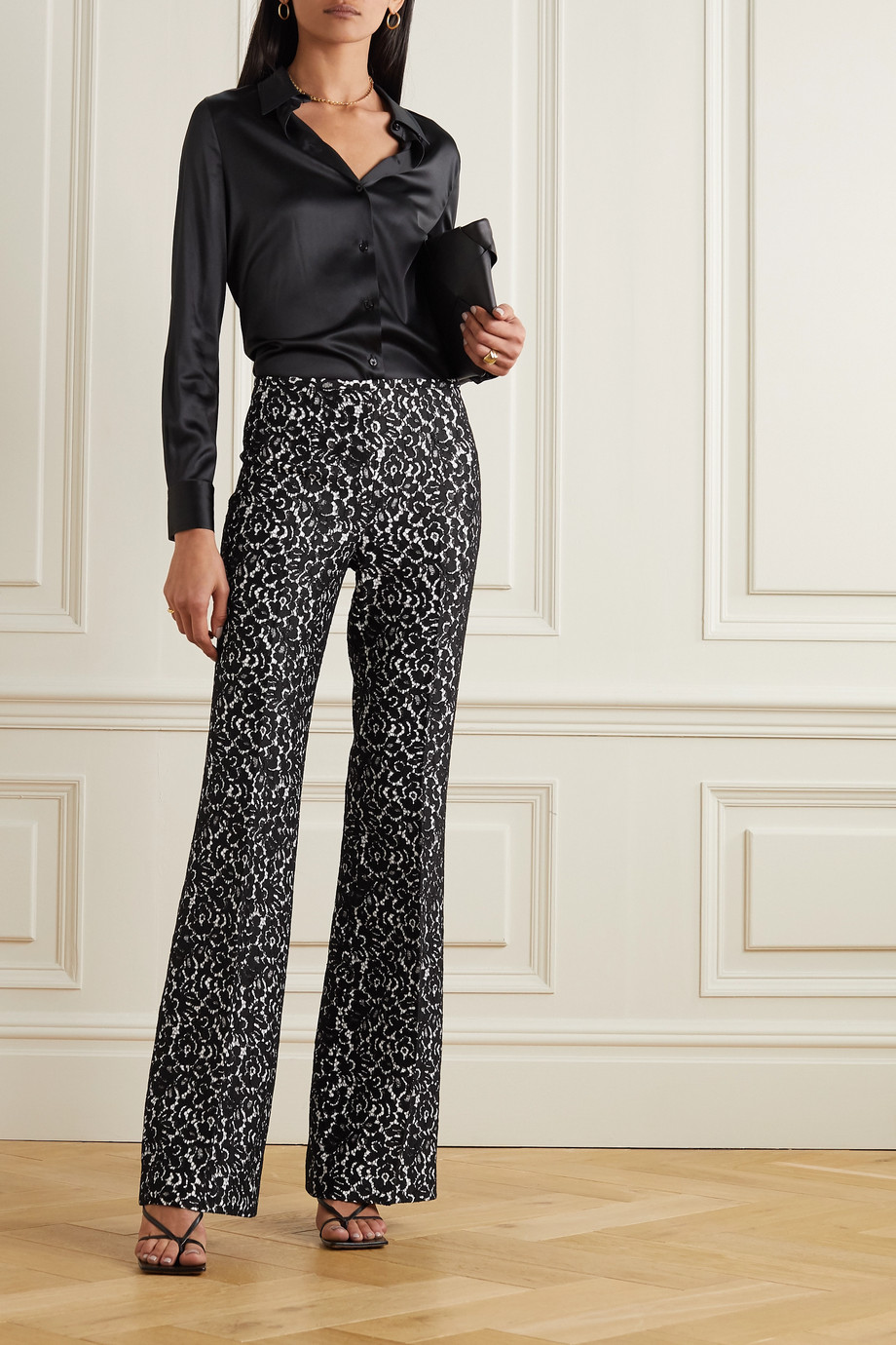 Michael Kors Collection Brooke lace and crepe flared pants