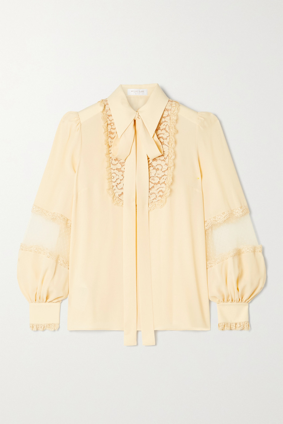 Michael Kors Collection Corded lace and point d'esprit-trimmed silk-crepe blouse