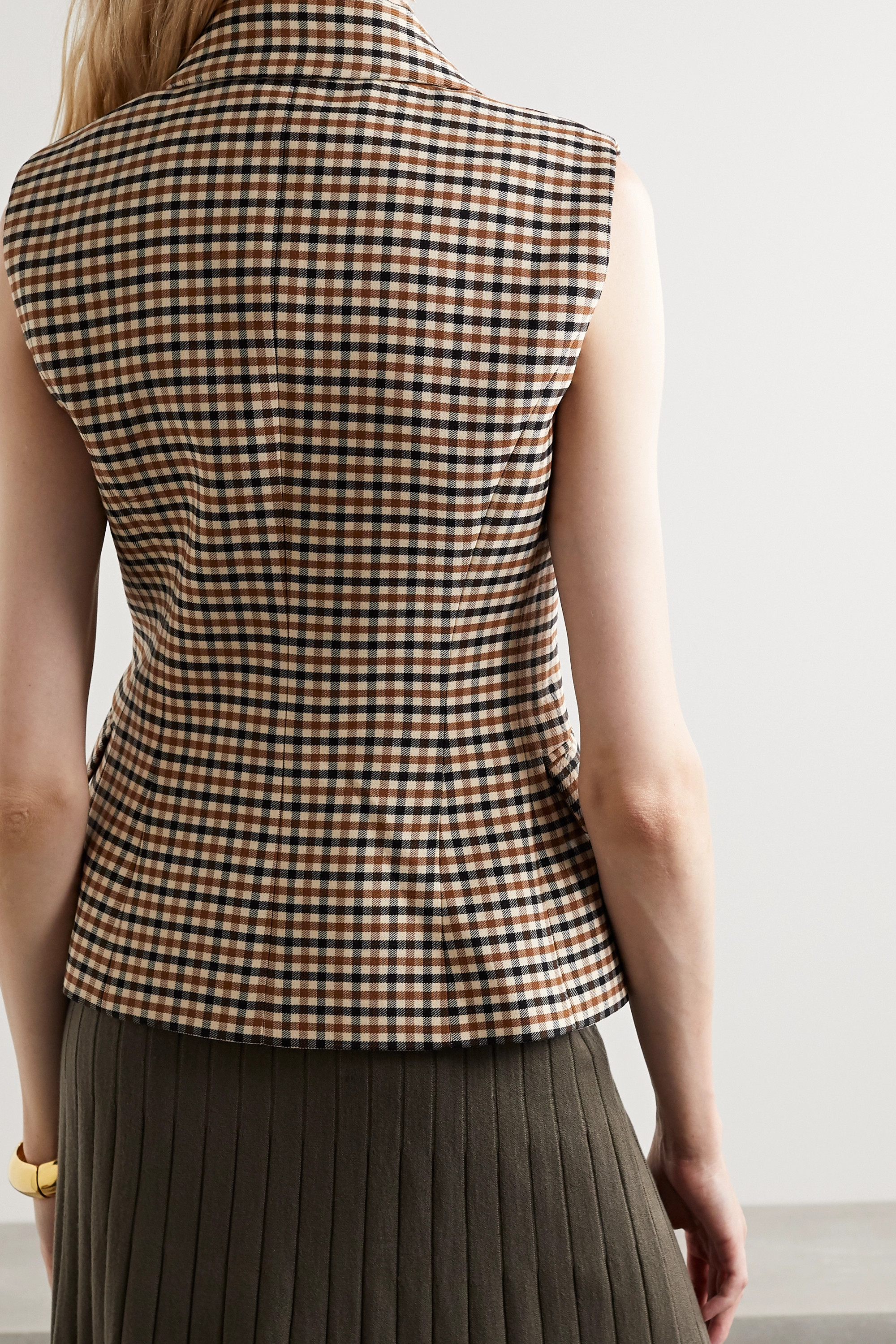 Michael Kors Collection Double-breasted checked wool-blend gabardine vest