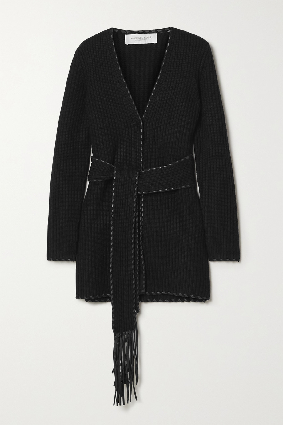 Michael Kors Collection Belted leather-trimmed ribbed cashmere cardigan