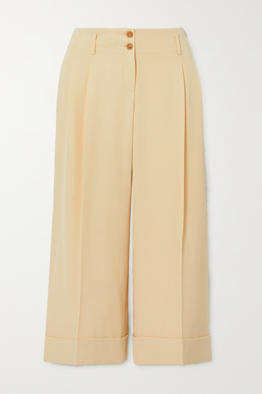 Michael Kors Collection Cropped pleated wool-twill wide-leg pants