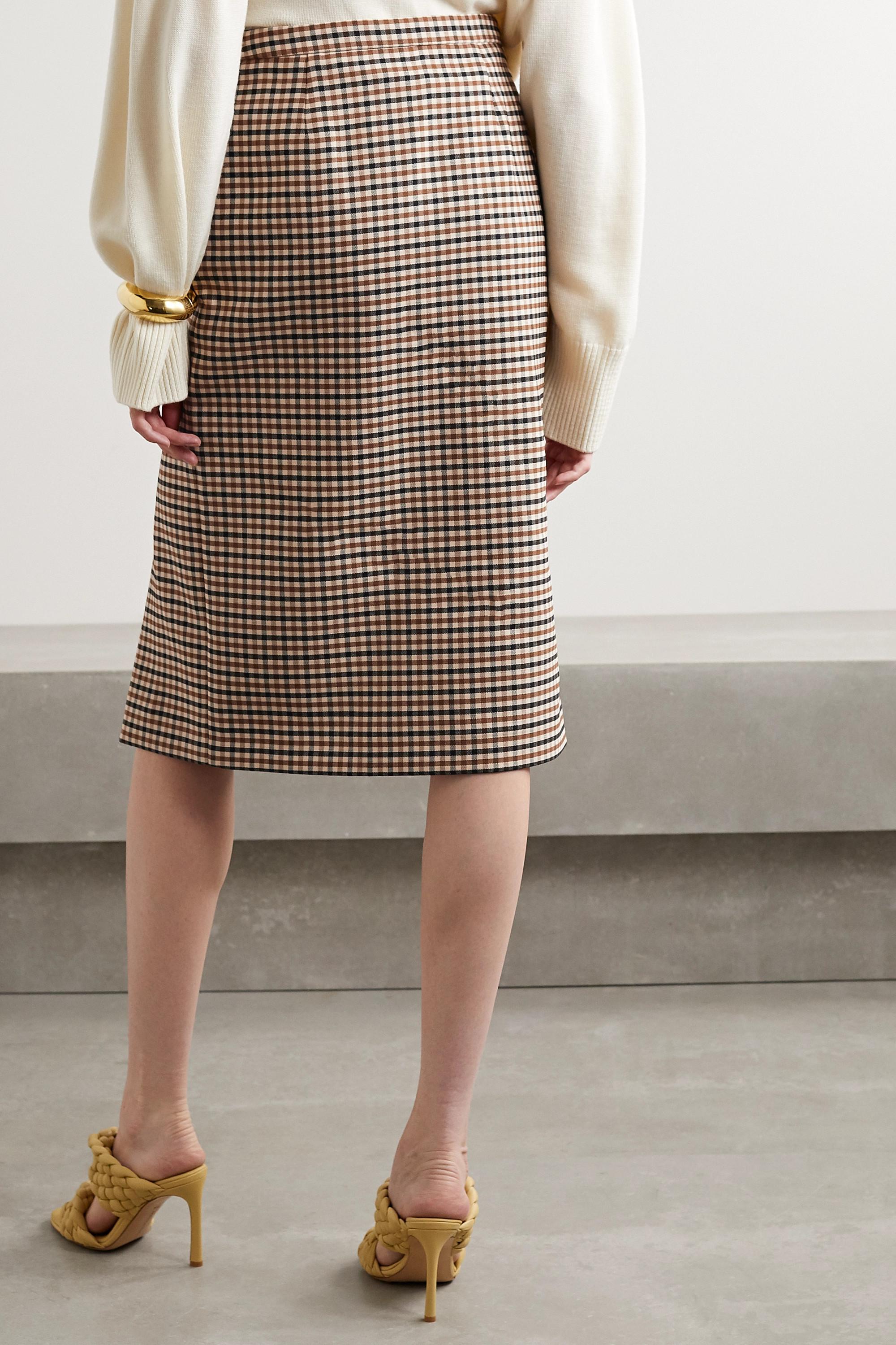 Michael Kors Collection Checked wool-blend gabardine skirt