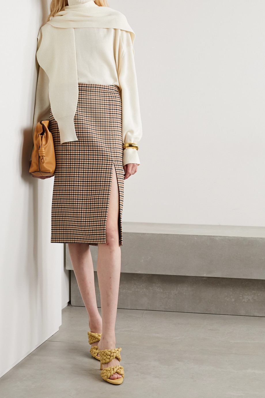 Michael Kors Collection Checked wool-blend gabardine skirt