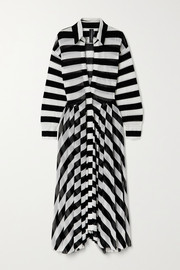Norma Kamali Striped stretch-tulle maxi dress