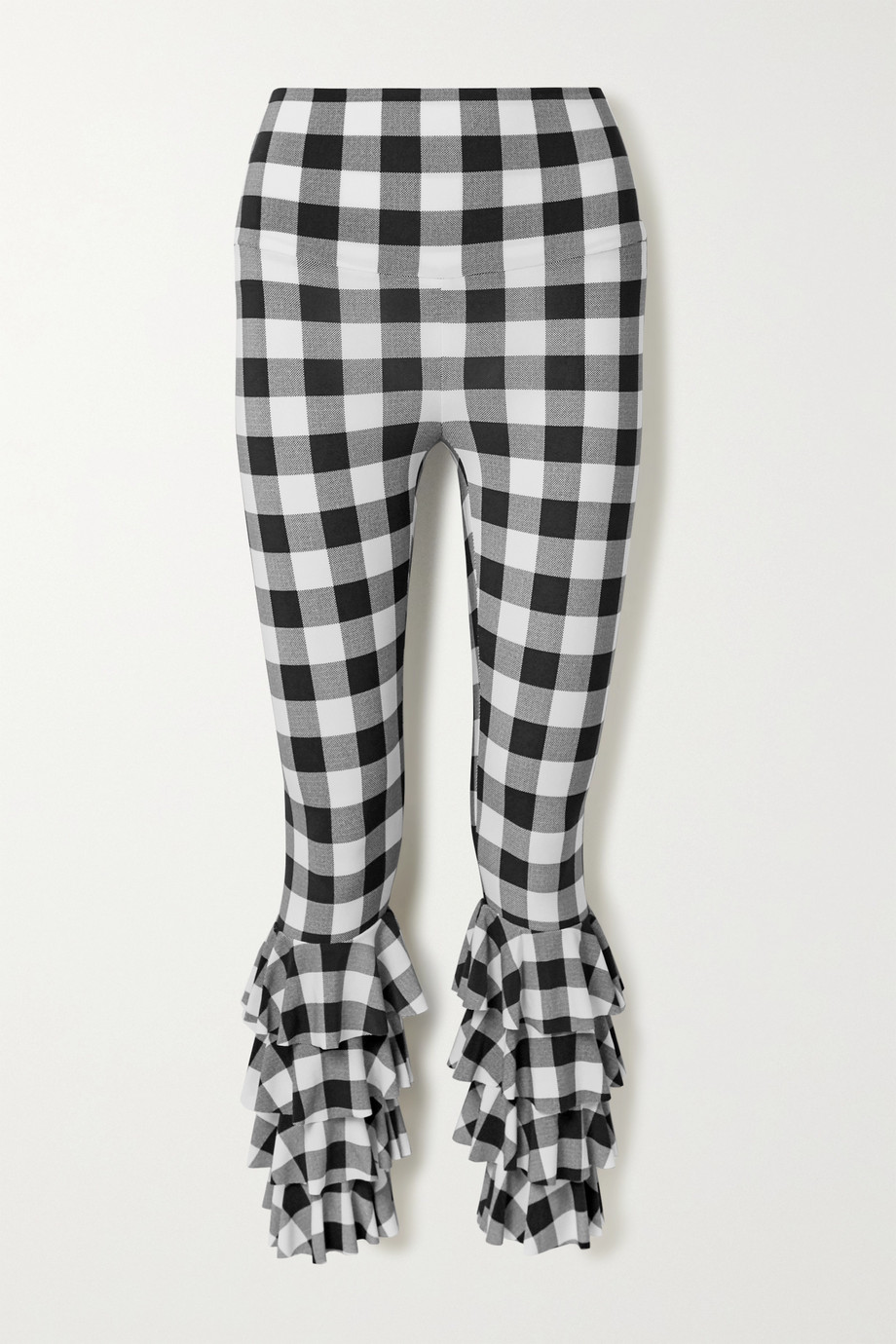 Norma Kamali Ruffled checked stretch-jersey leggings