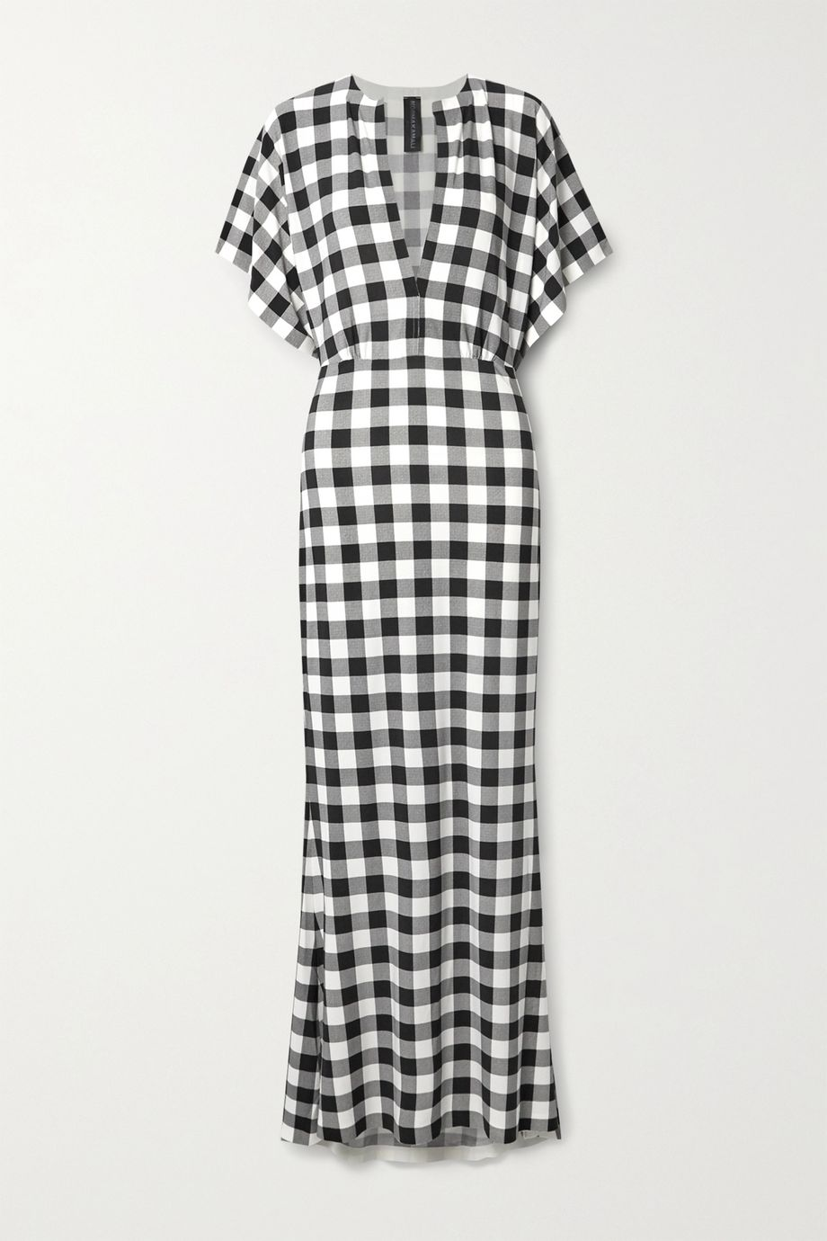 Norma Kamali Obie checked stretch-jersey maxi dress
