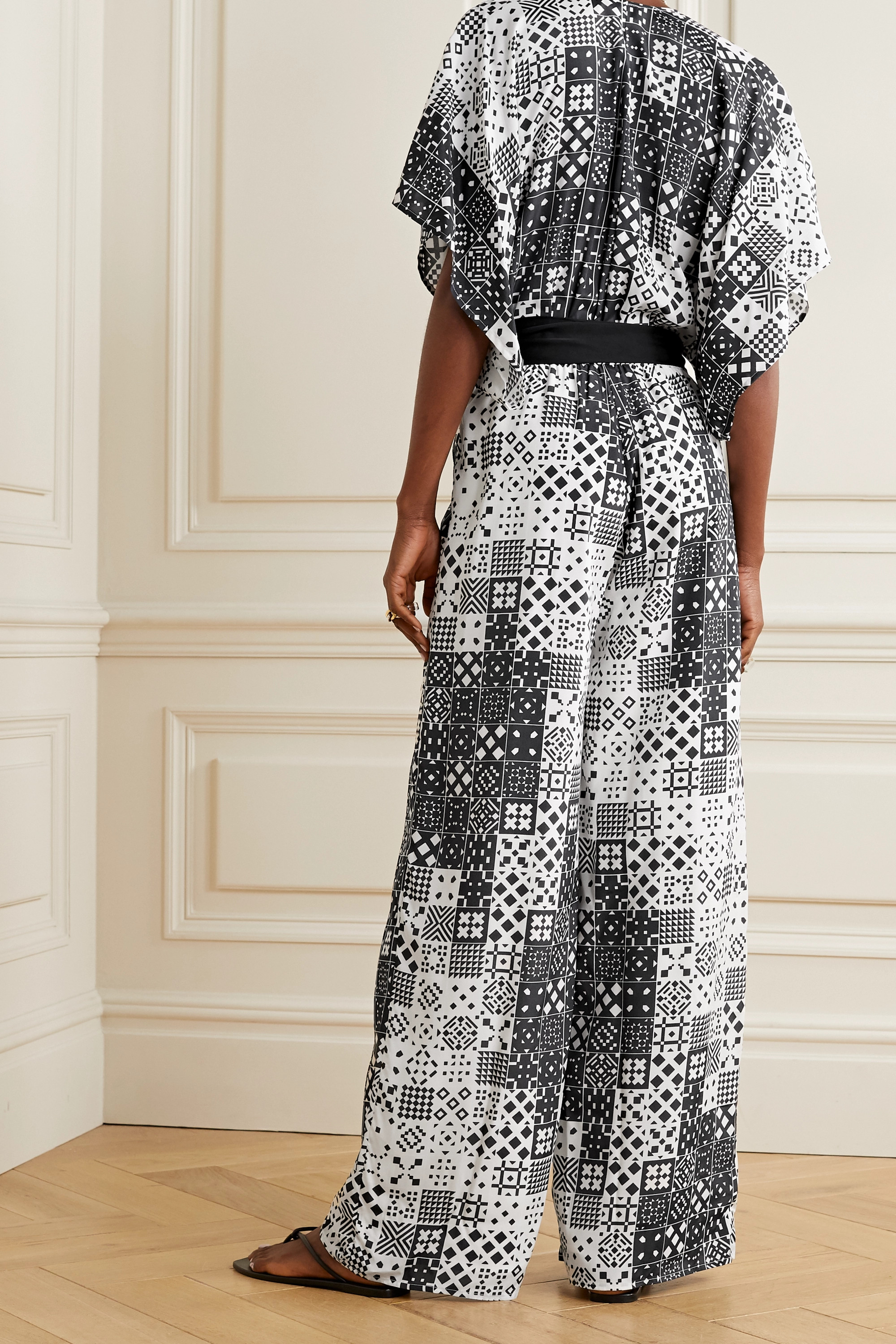 Black + Net Sustain Natasha Belted Printed Voile Jumpsuit | Jaline