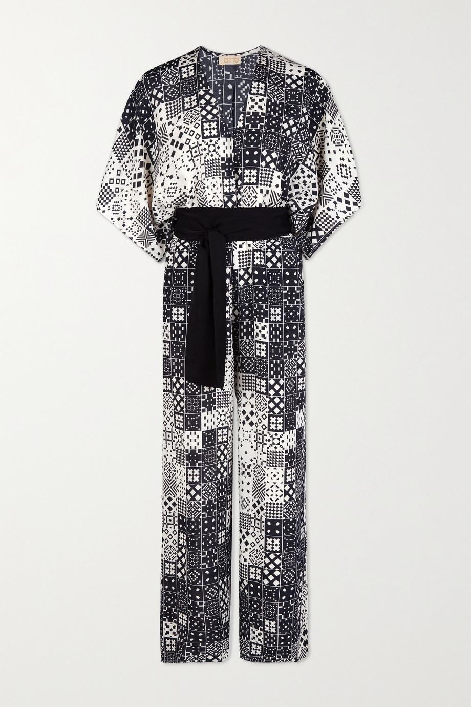 Jaline + NET SUSTAIN Natasha belted printed voile jumpsuit