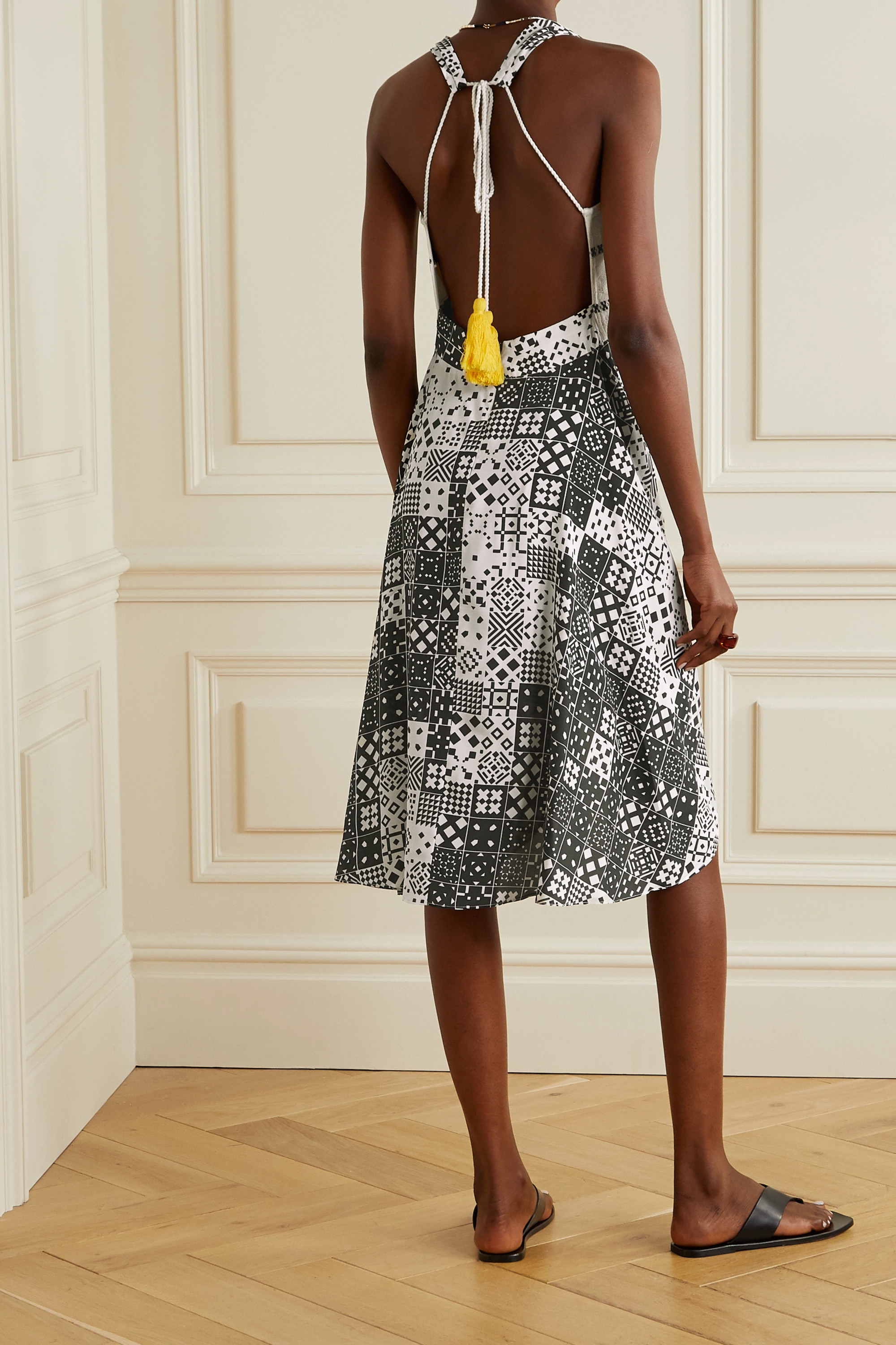 Jaline + NET SUSTAIN Ava open-back printed voile and gauze dress