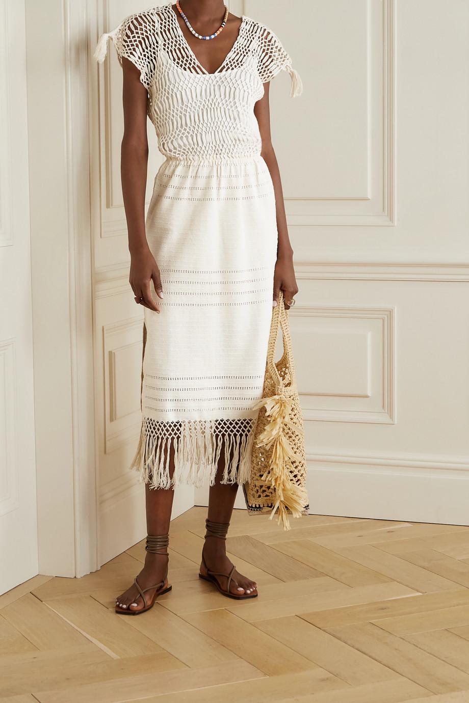 Jaline + NET SUSTAIN Bianca Midikleid aus Baumwolle mit Makrameepartie und Fransen