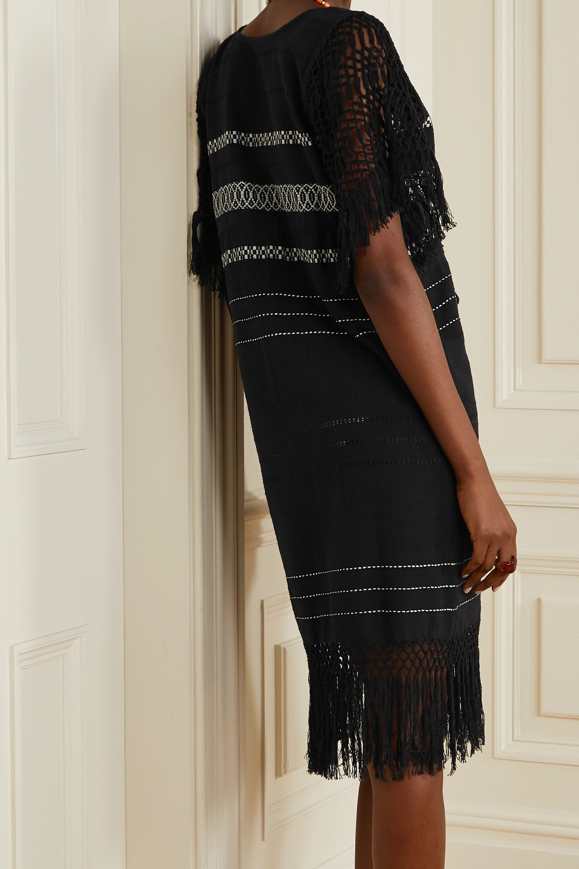 Jaline + NET SUSTAIN Susana fringed macramé-trimmed cotton-gauze robe